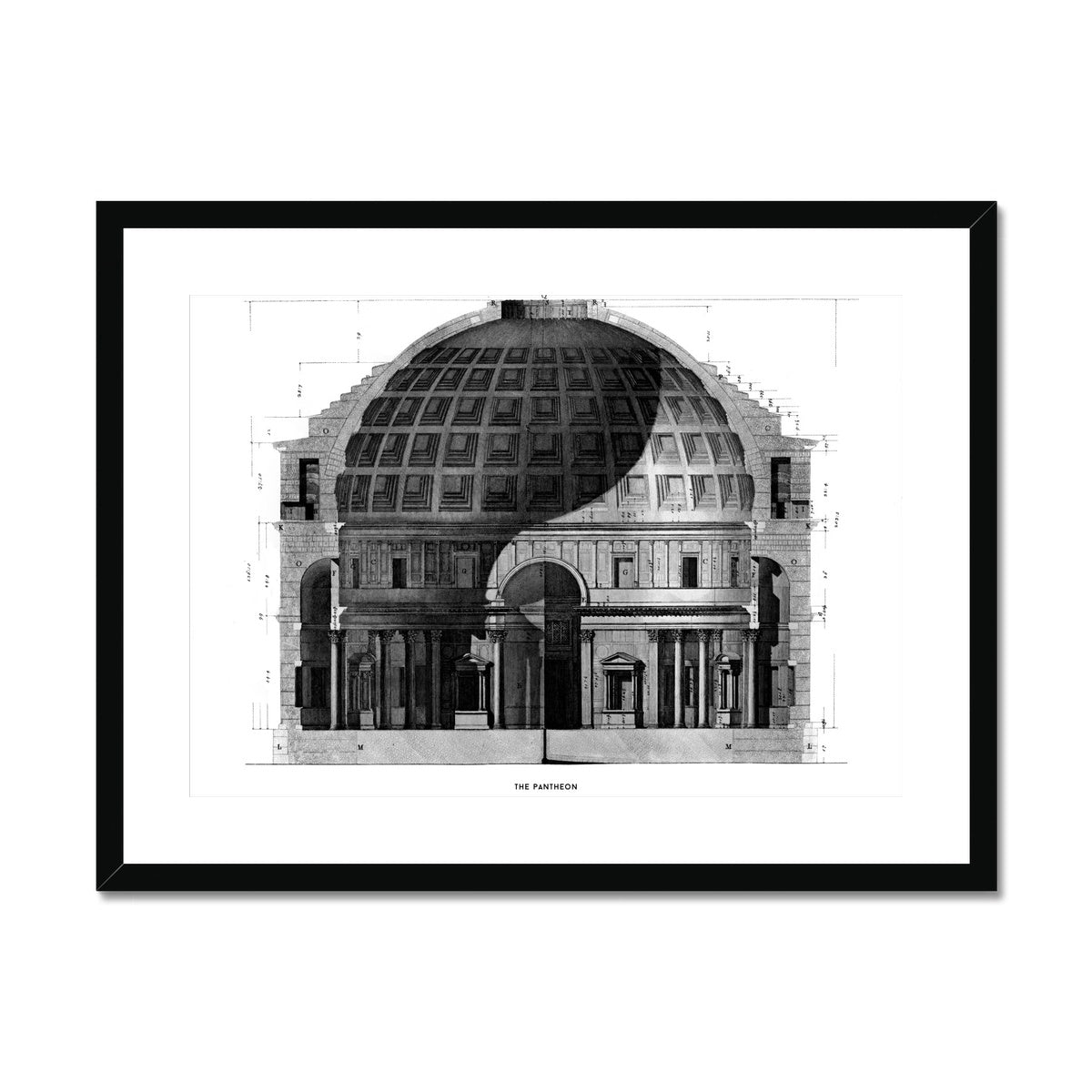 The Pantheon - Primary Elevation Cross Section -  Framed & Mounted Print