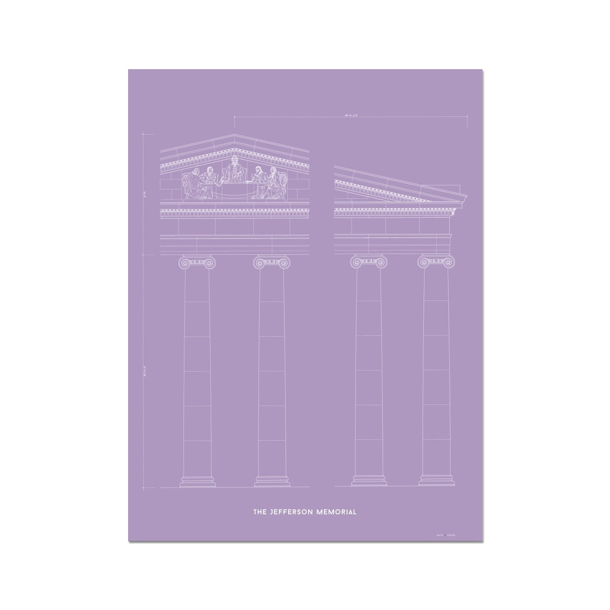 The Jefferson Memorial Portico Detail - Lavender -  Etching Paper Print