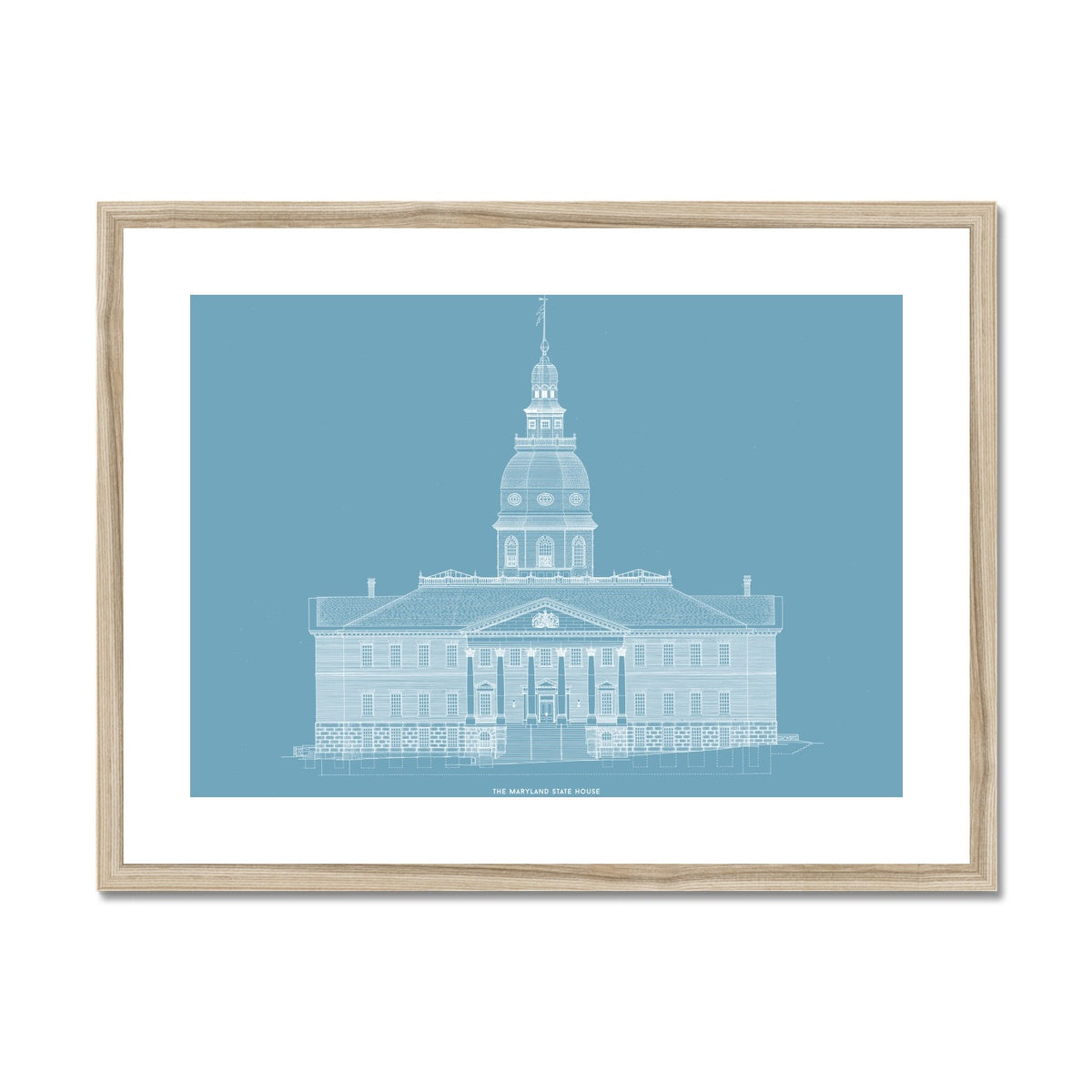 The Maryland State House - Northwest Elevation - Blue -  Framed & Mounted Print