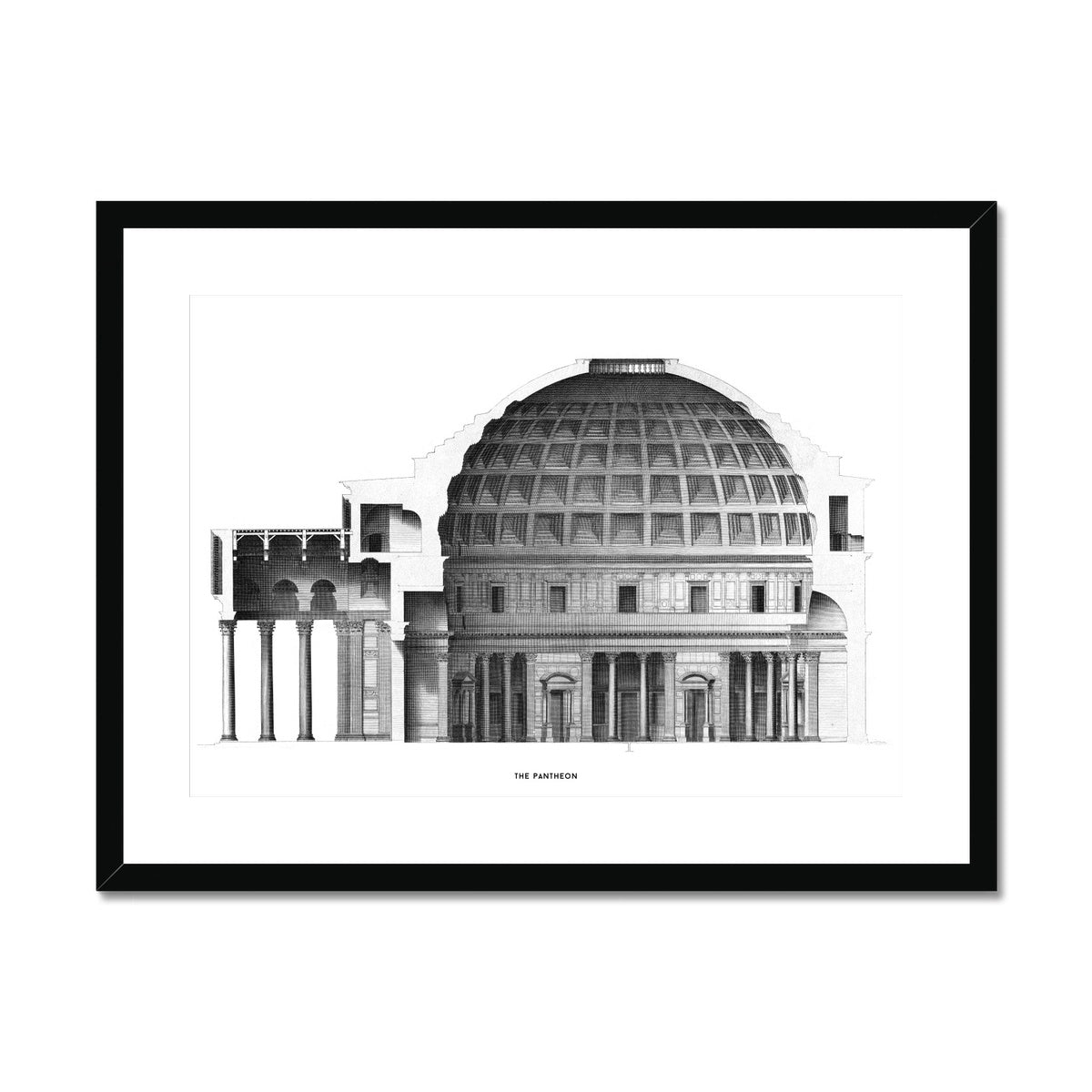 The Pantheon - Alternative Cross Section -  Framed & Mounted Print