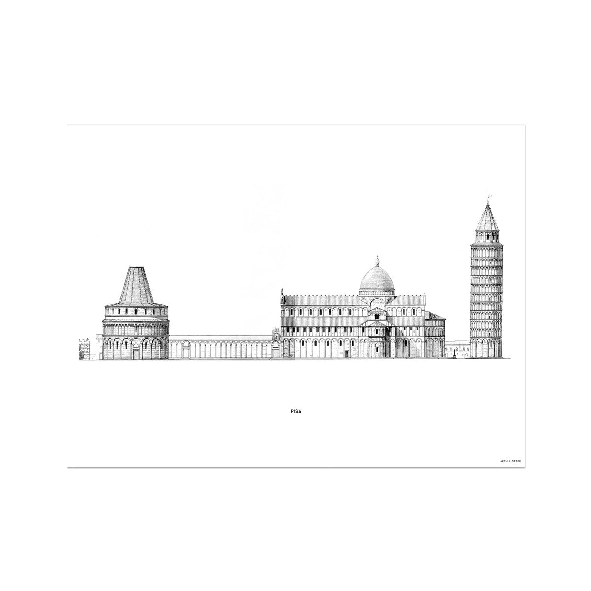 Pisa - Primary Elevation - White -  Etching Paper Print