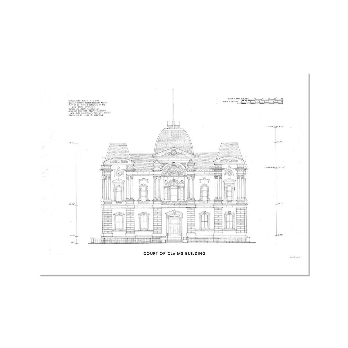 Washington D.C. Court of Claims Building - White -  Etching Paper Print