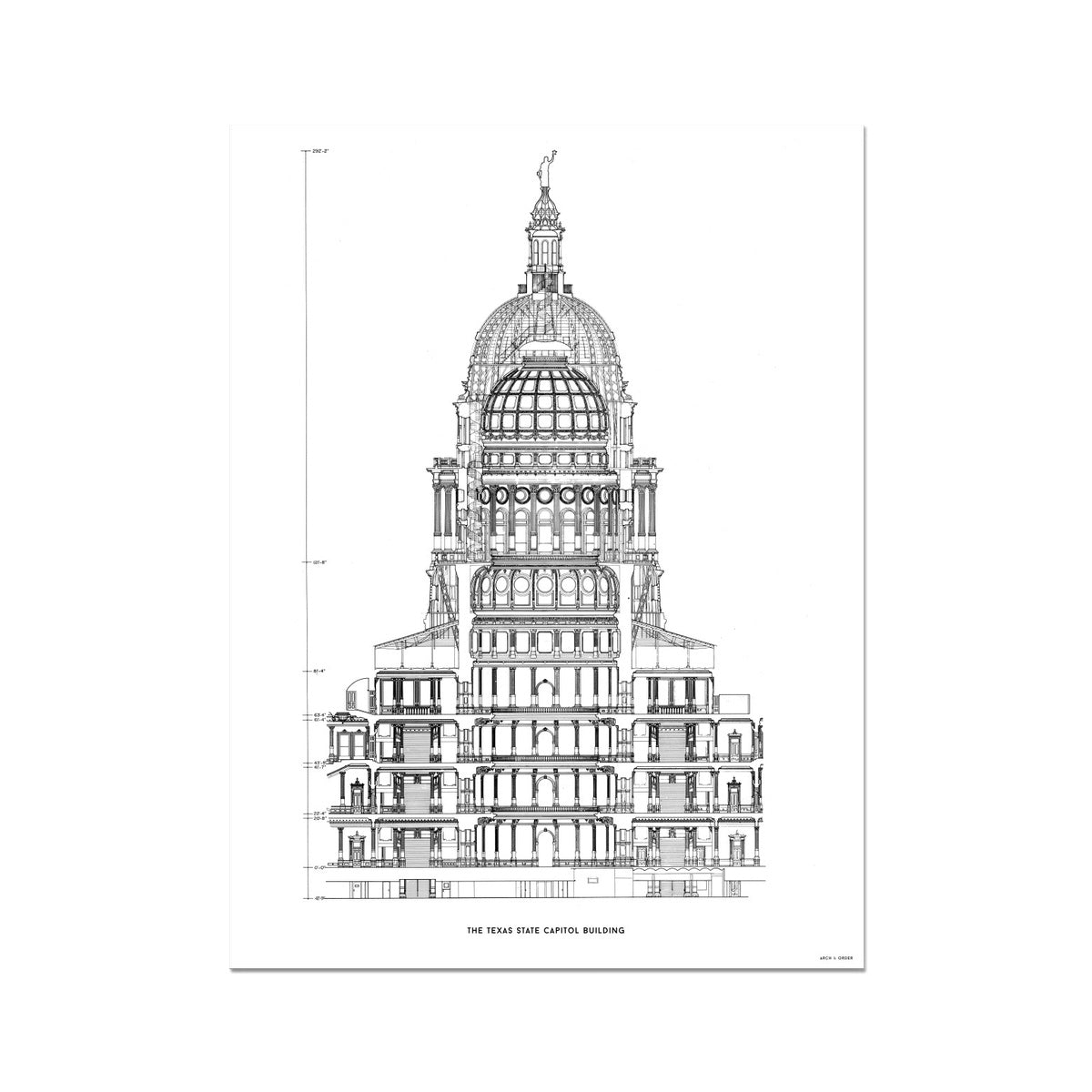 The Texas State Capitol Building - Rotunda Cross Section - White -  Etching Paper Print