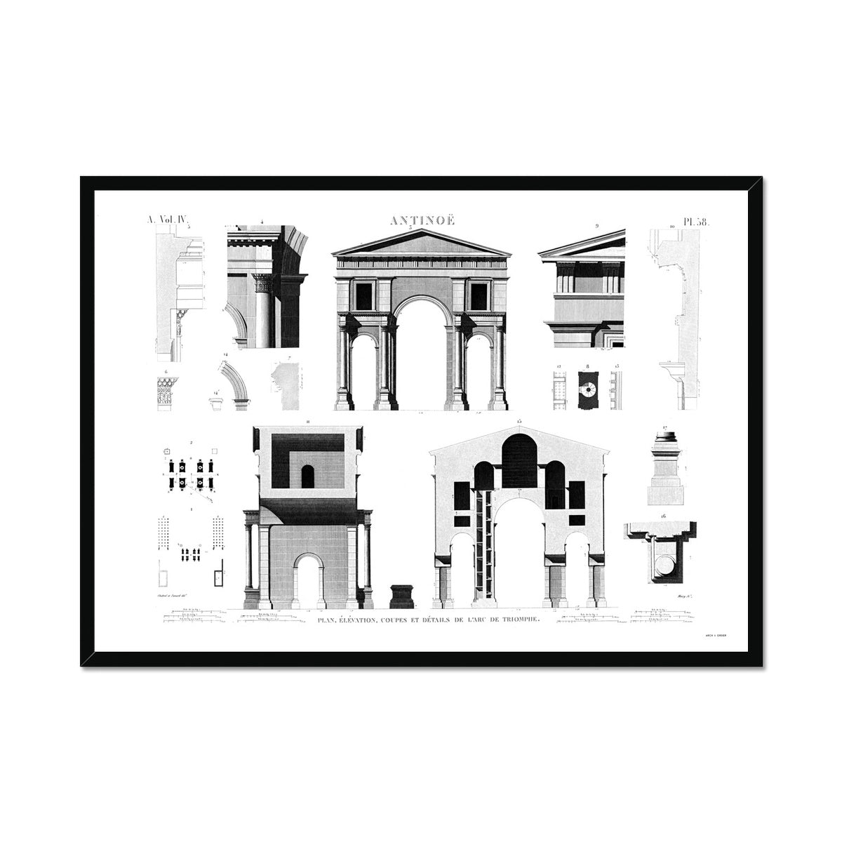 Triumphal Arch Elevation - Antinoöpolis Egypt -  Framed Print