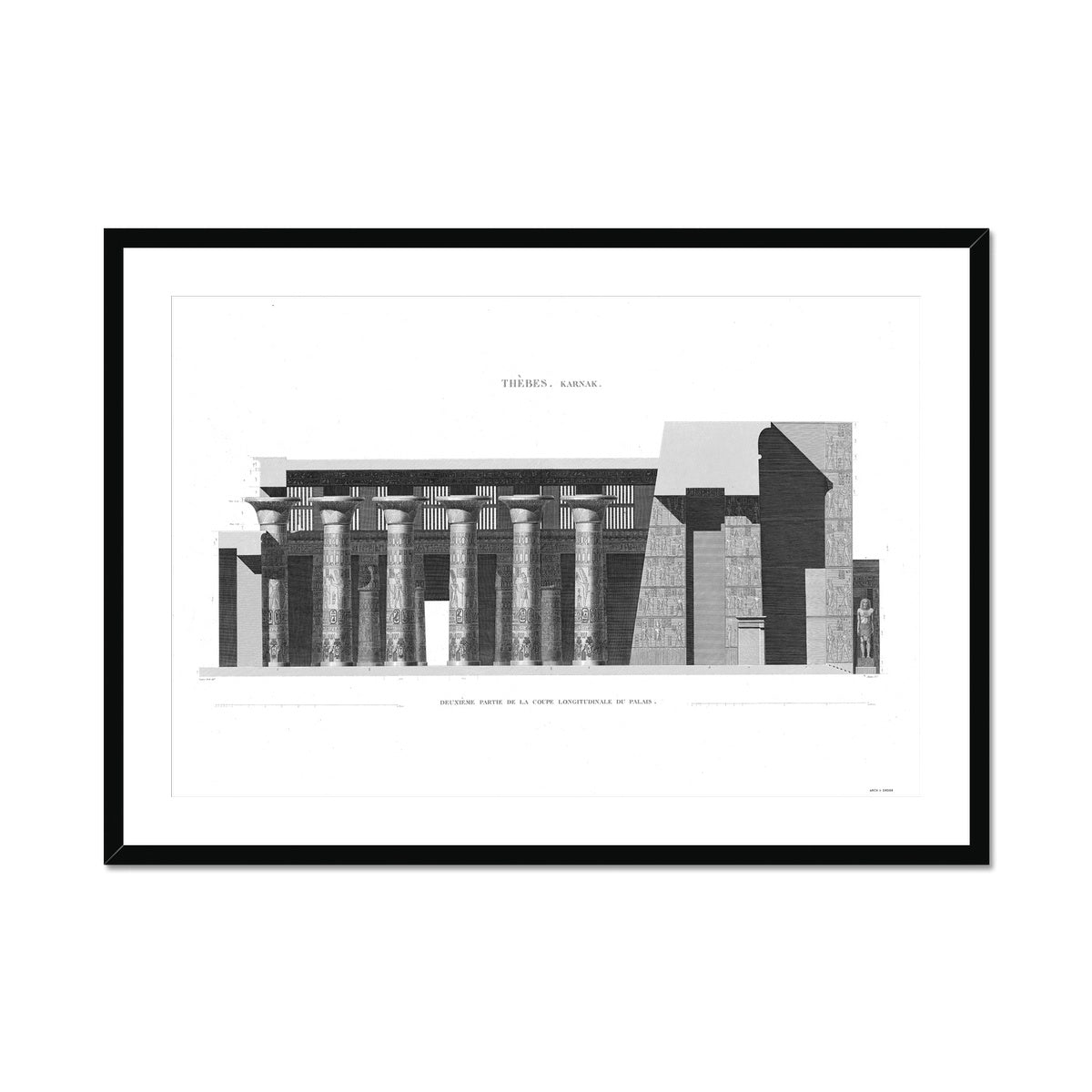 Section of the Palace 3 - Karnak - Thebes Egypt -  Framed & Mounted Print