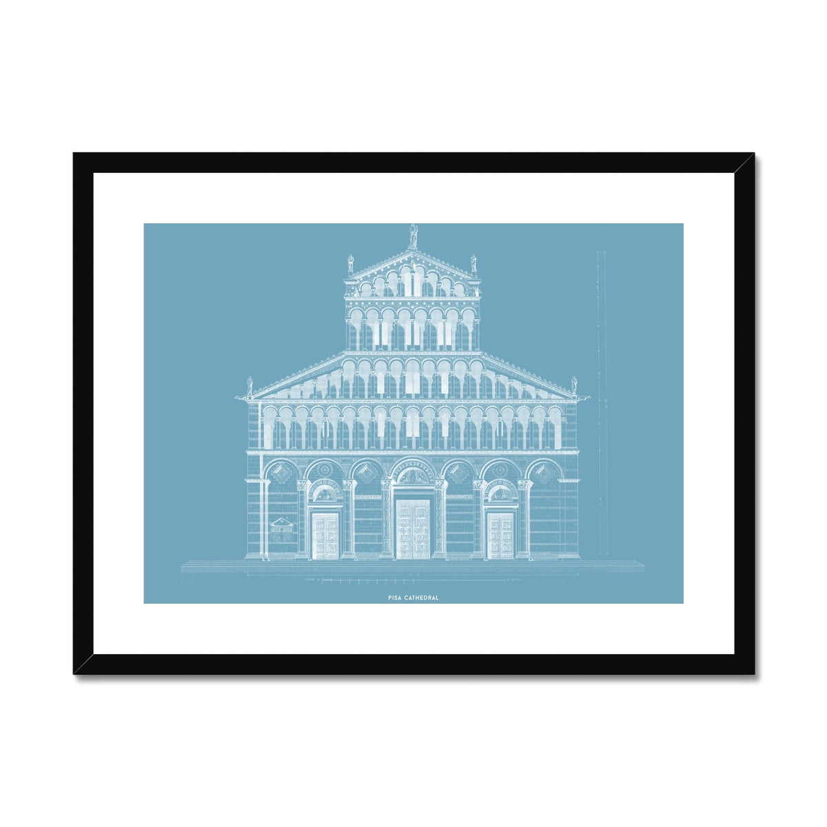 Pisa Cathedral - Primary Elevation - Blue -  Framed & Mounted Print