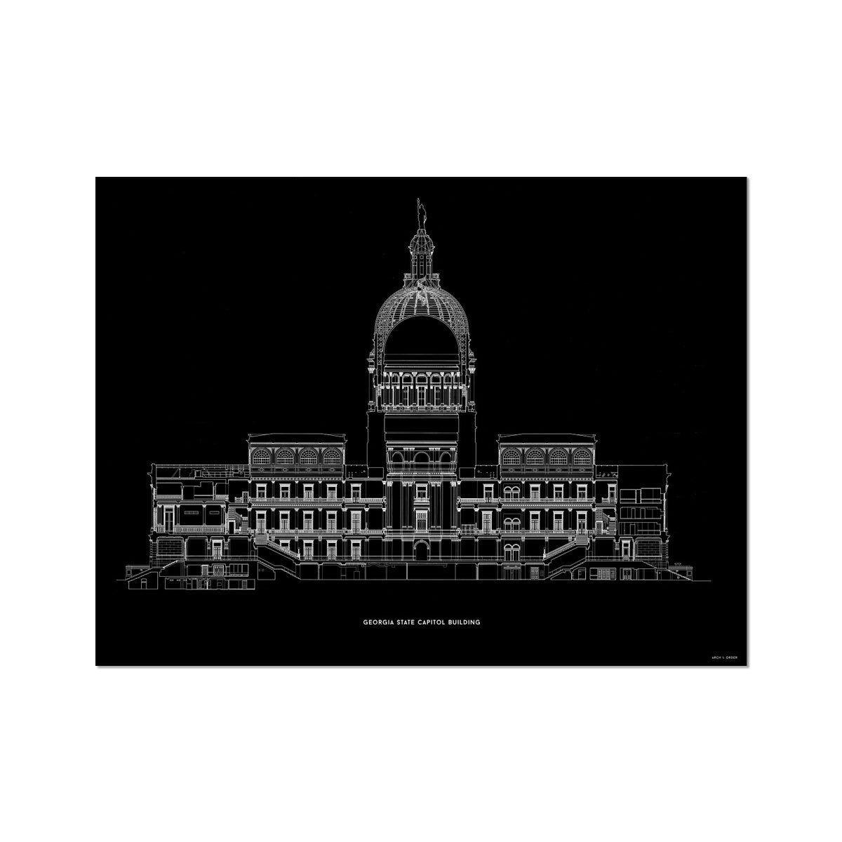 The Georgia State Capitol Building - West Elevation Cross Section - Black - German Etching Print