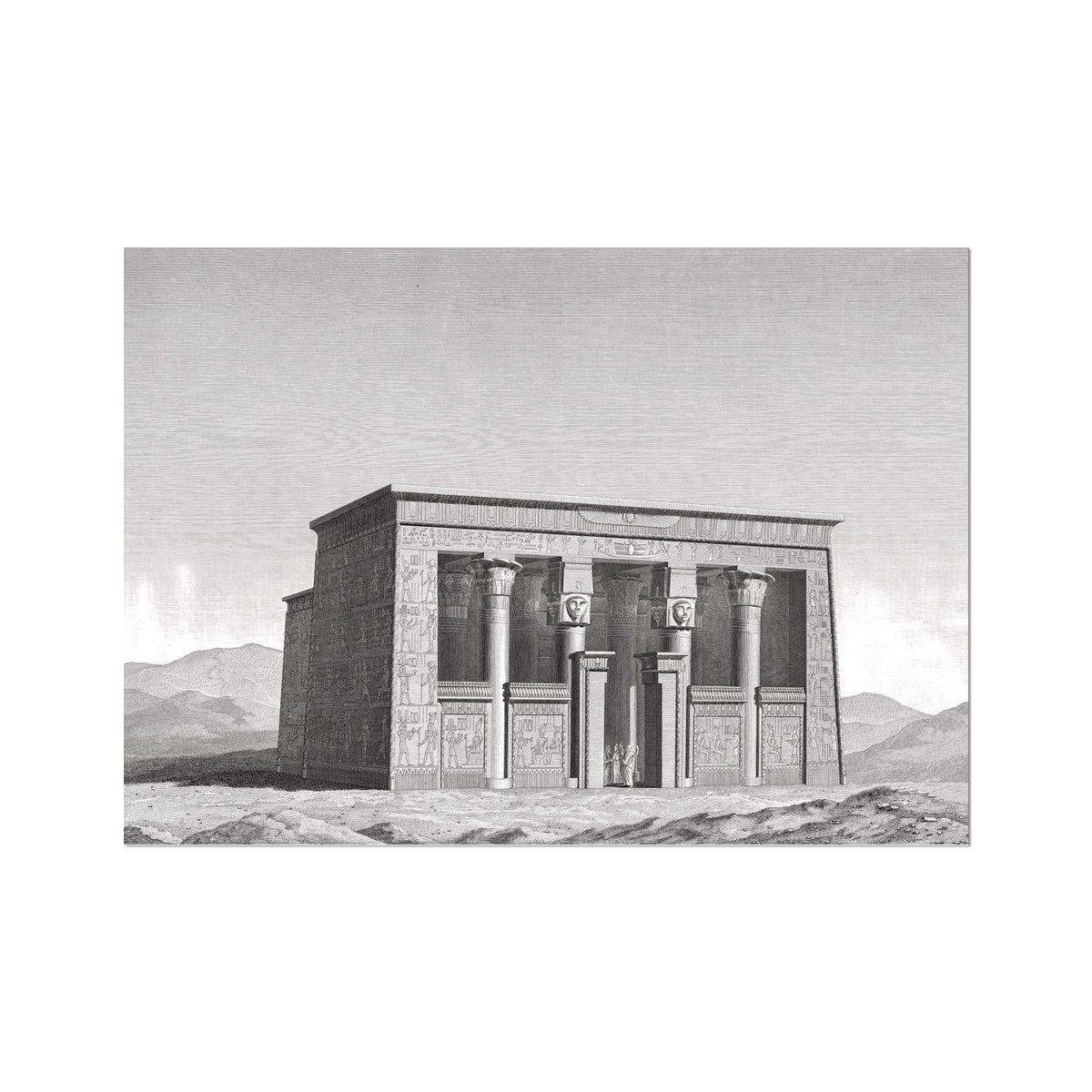 Lower Temple - Esna Egypt -  Etching Paper Print