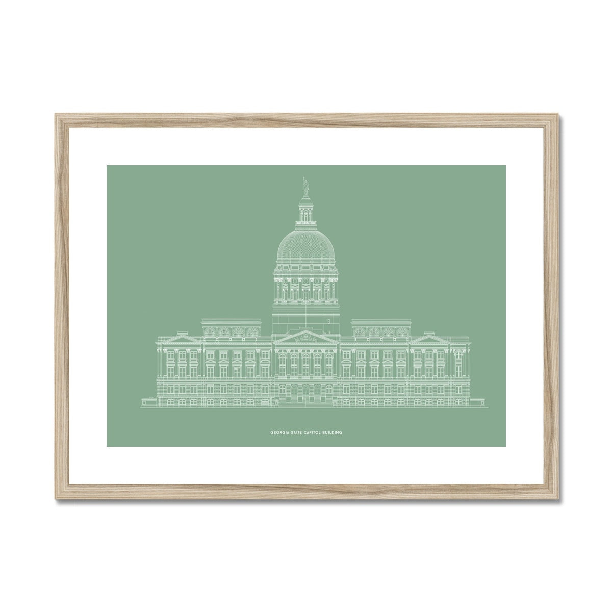 The Georgia State Capitol Building - West Elevation - Green -  Framed & Mounted Print