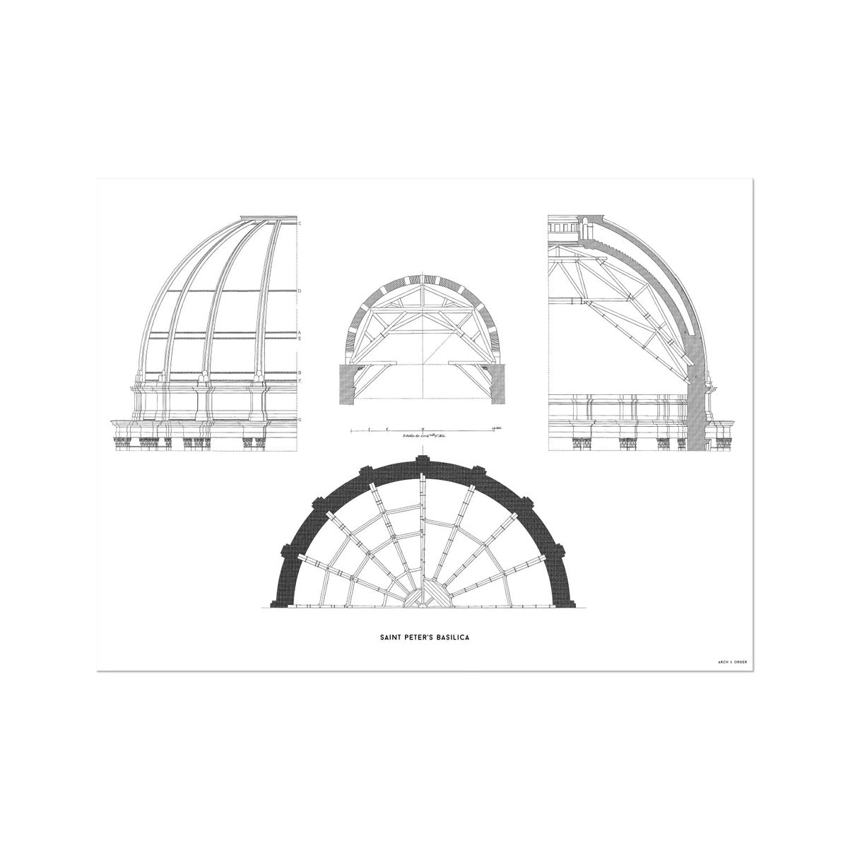 Saint Peter's Basilica - Dome Structure - White -  Etching Paper Print