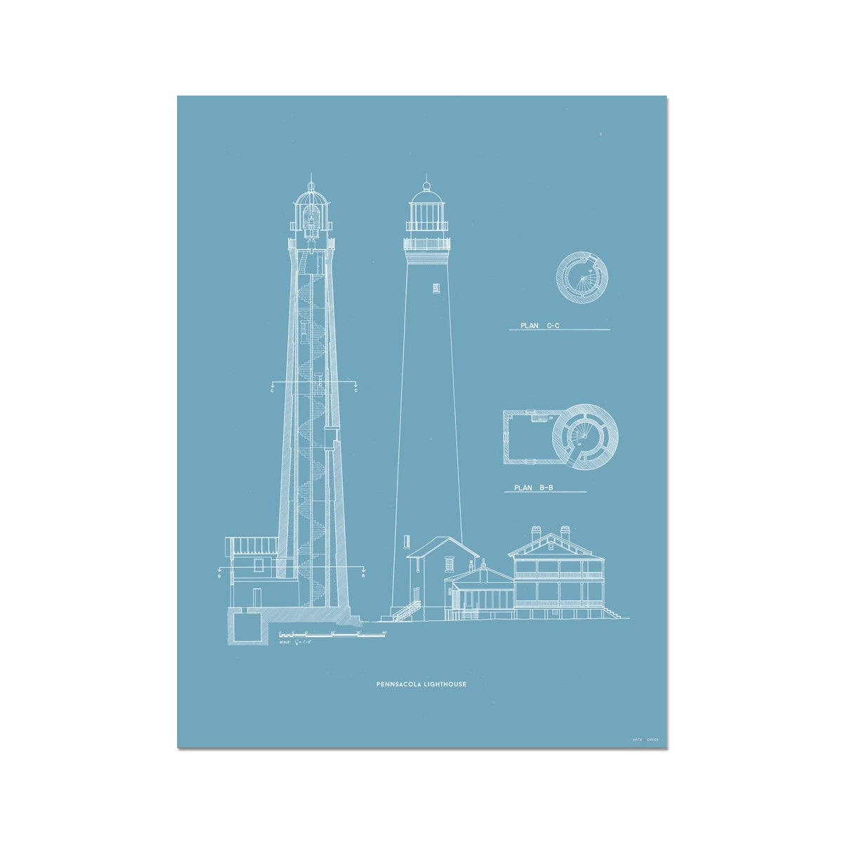 The Pensacola Lighthouse - West Elevation and Cross Section - Blue - German Etching Print