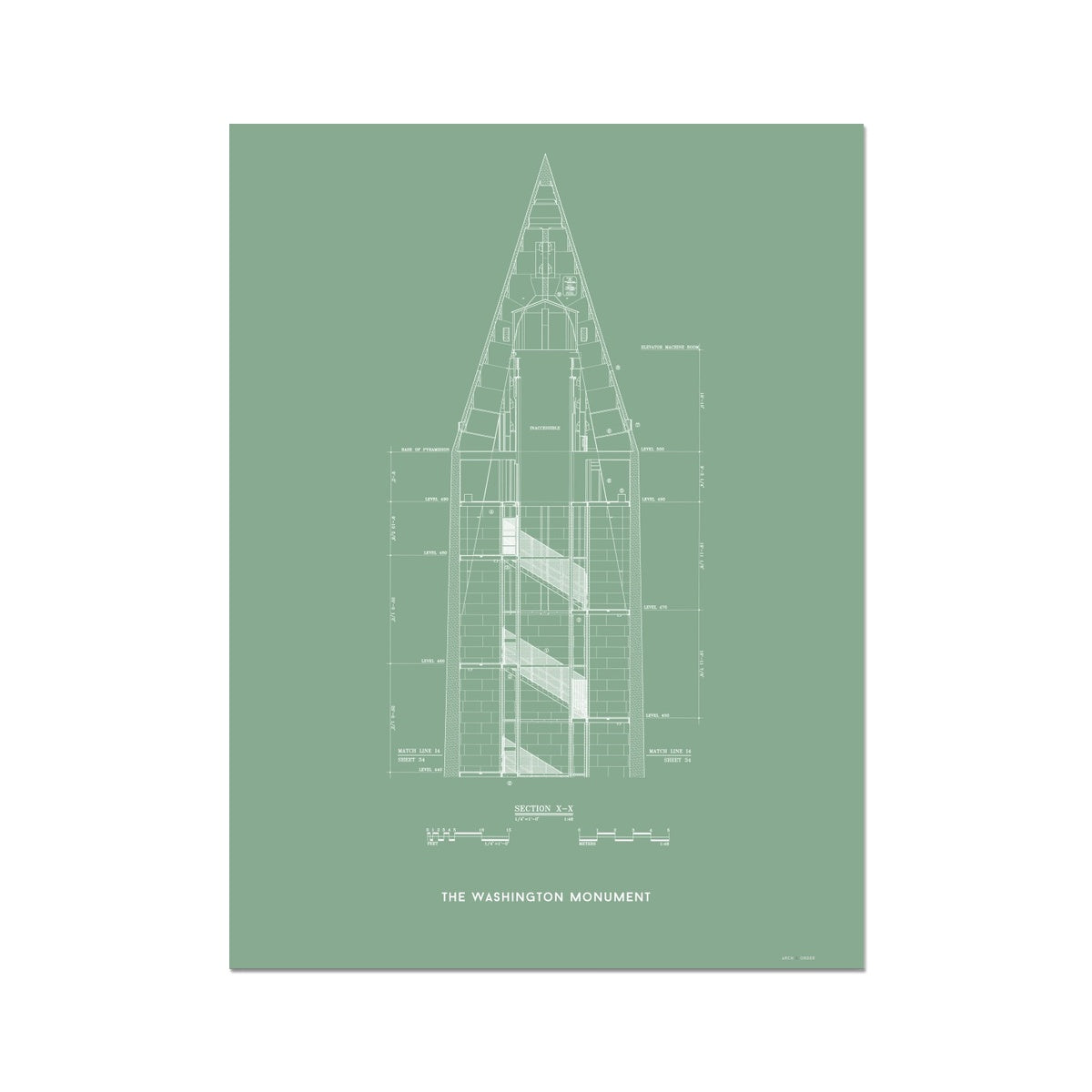 The Washington Monument Top Cross Section - Green -  Etching Paper Print