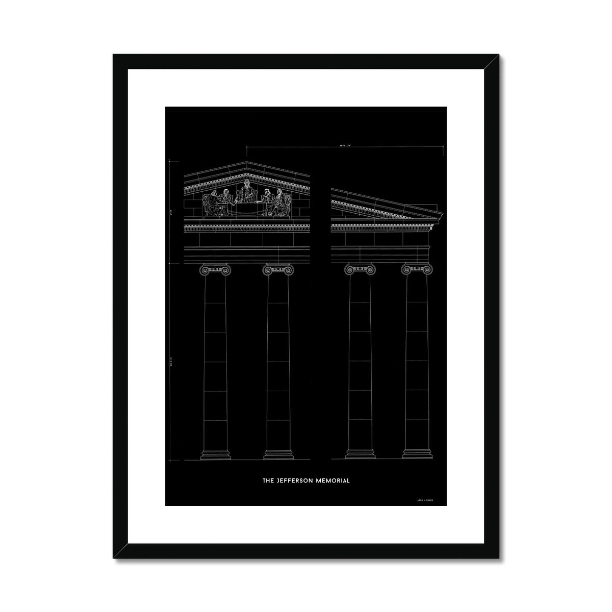 The Jefferson Memorial Portico Detail - Black -  Framed & Mounted Print