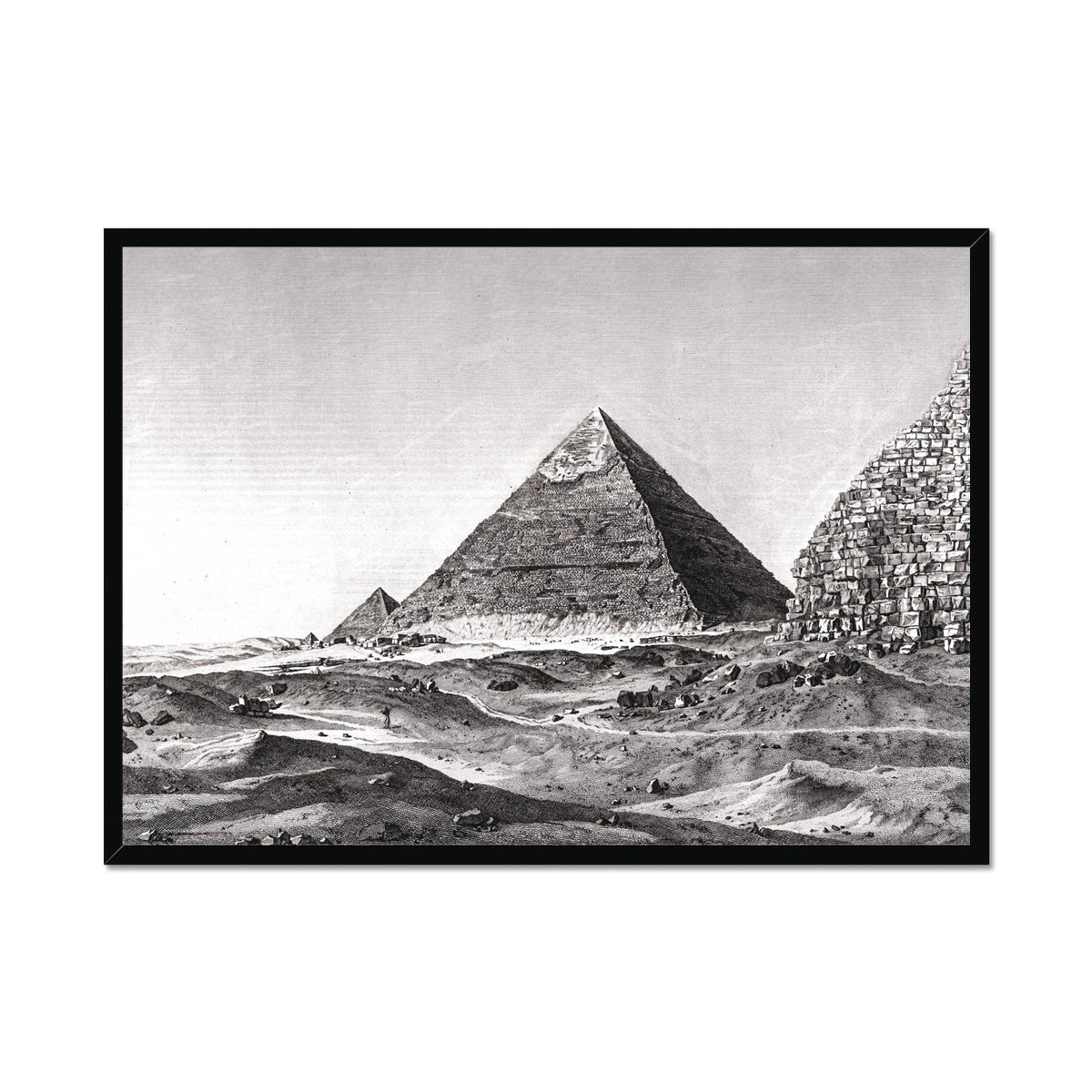 View of the Second Pyramid - Memphis Egypt -  Framed Print