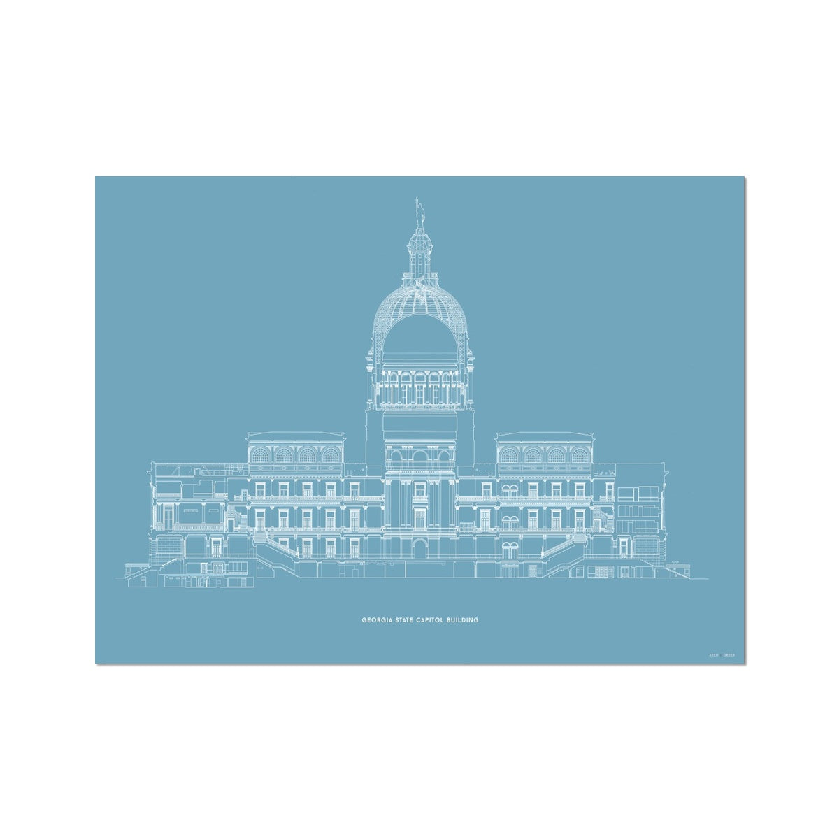 The Georgia State Capitol Building - West Elevation Cross Section - Blue - German Etching Print