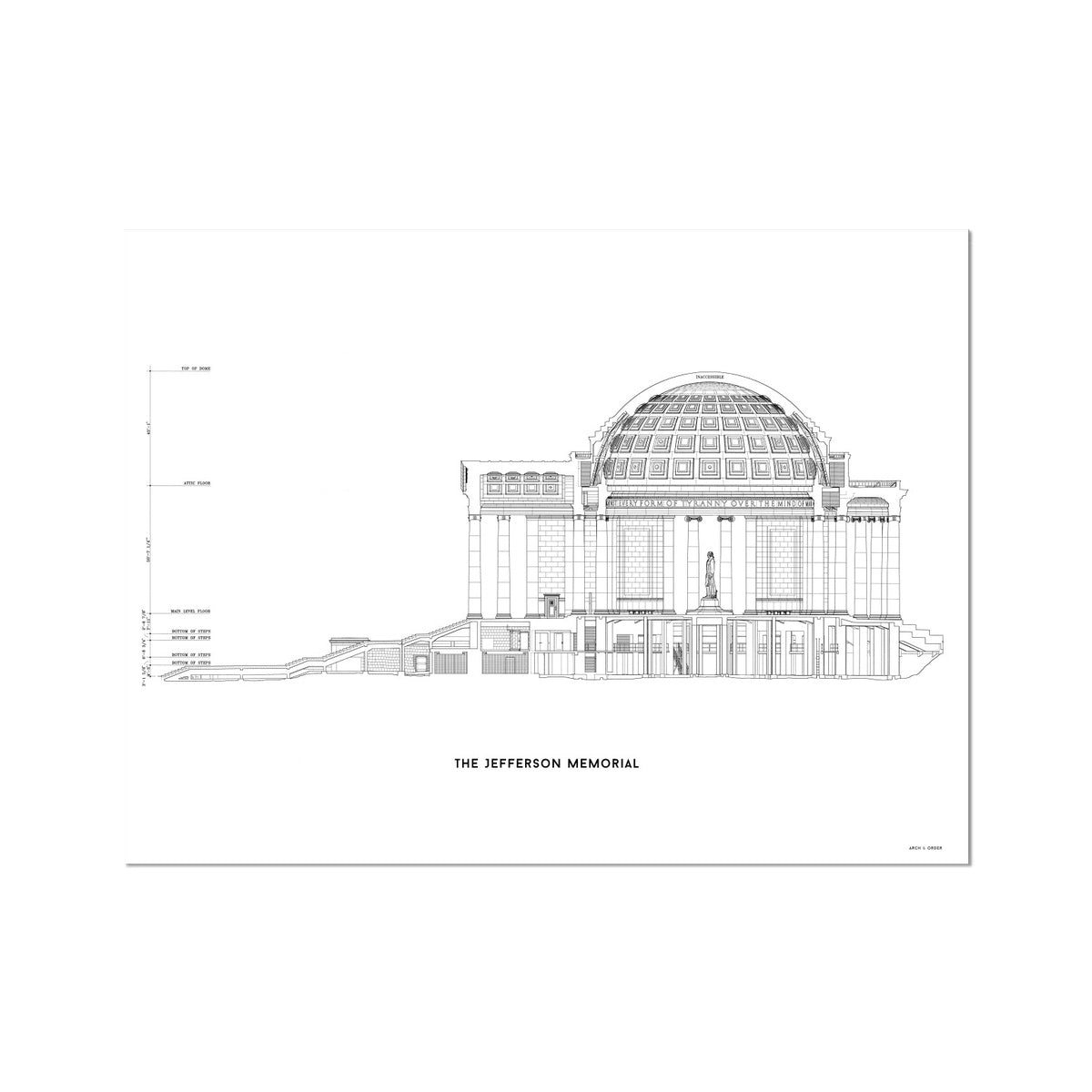 The Jefferson Memorial West Elevation Cross Section - White -  Etching Paper Print
