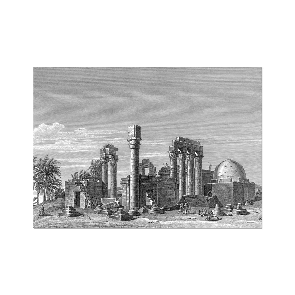 The Temple of Hermonthis Ruins 3 - Armant Egypt -  Etching Paper Print