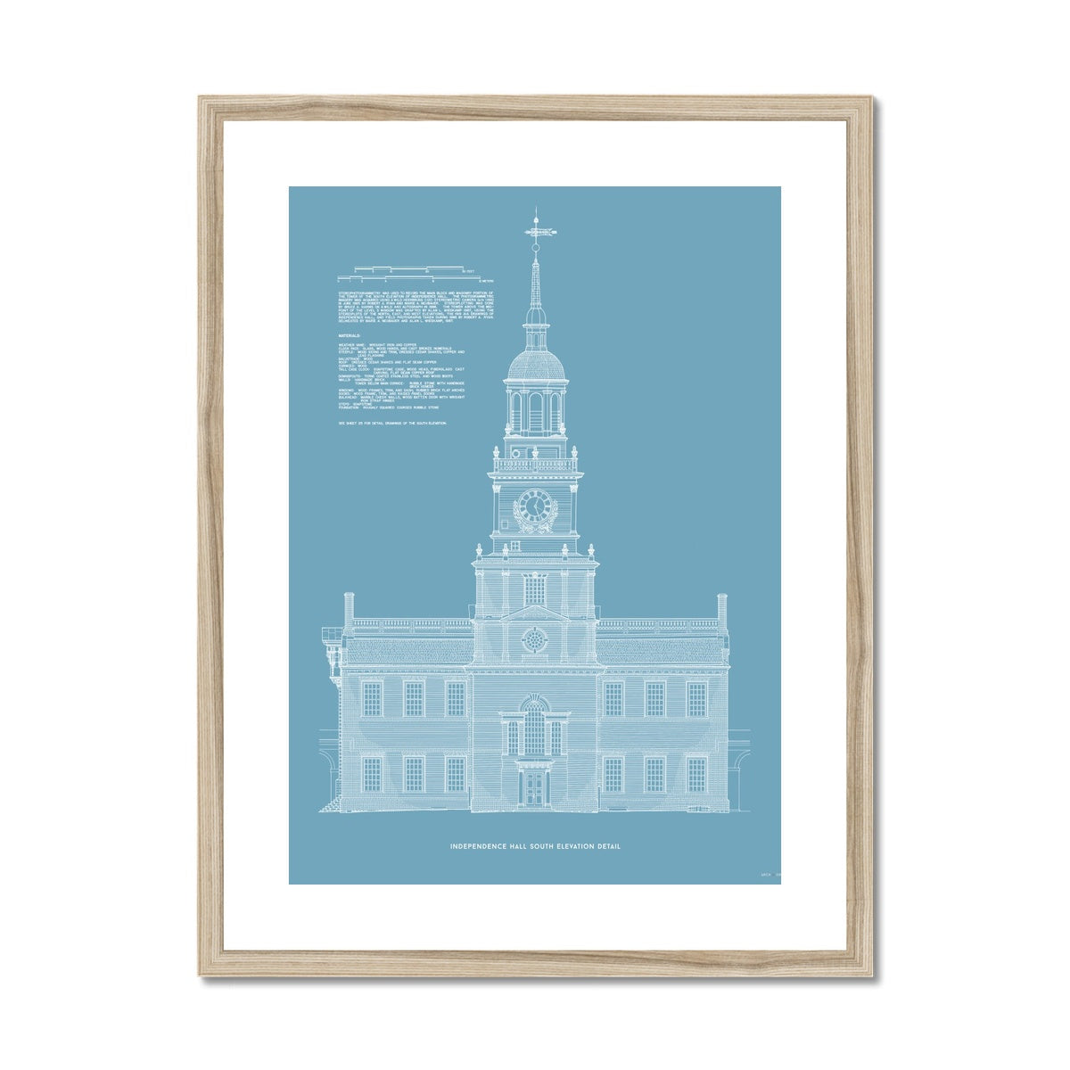 Independence Hall - South Elevation Detail - Blue -  Framed & Mounted Print