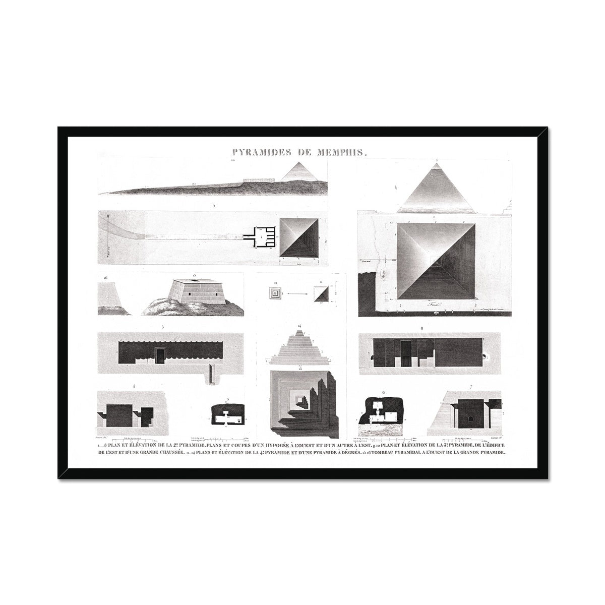 Details of the Pyramids of Giza - Memphis Egypt -  Framed Print