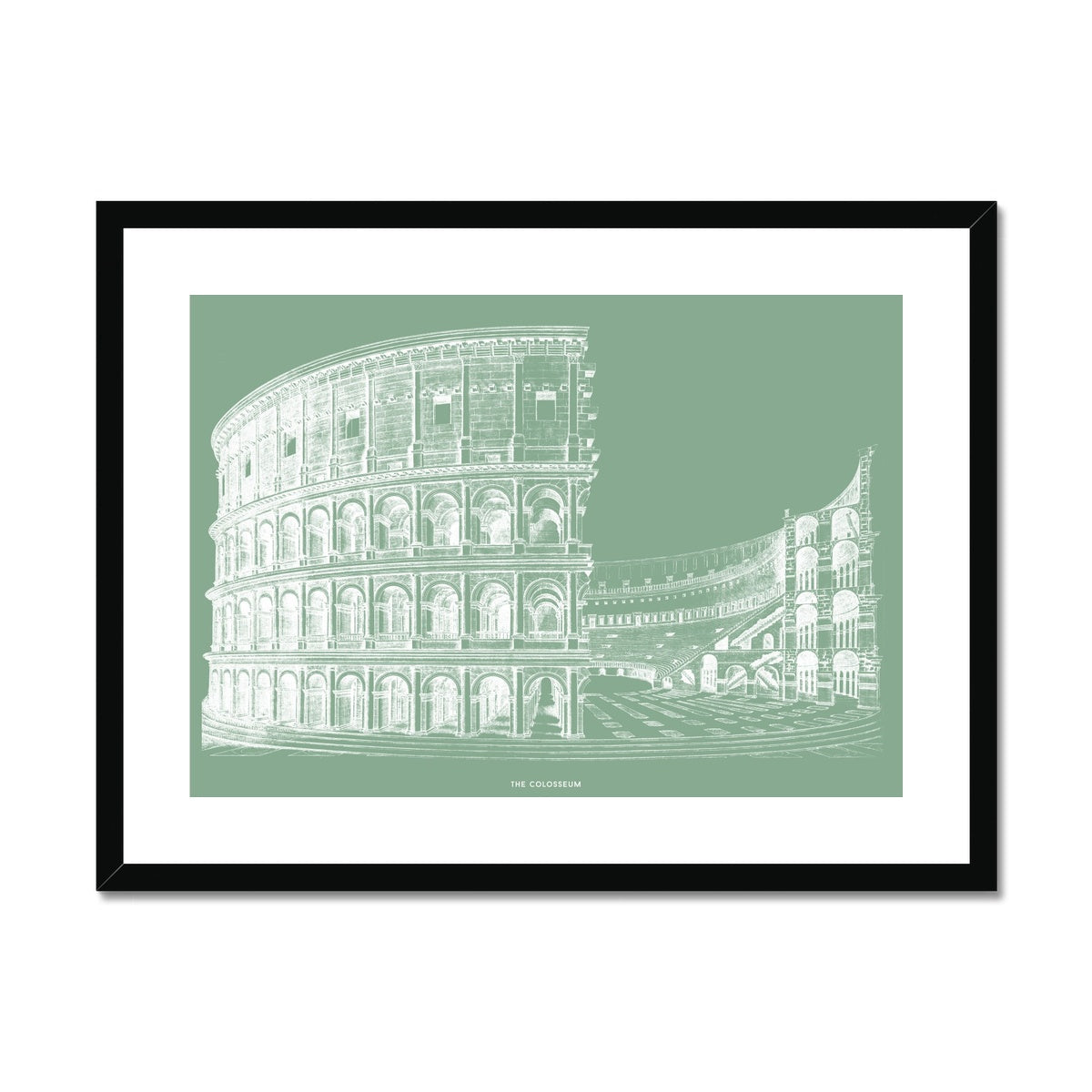 The Colosseum - Alternative Cross Section - Green -  Framed & Mounted Print