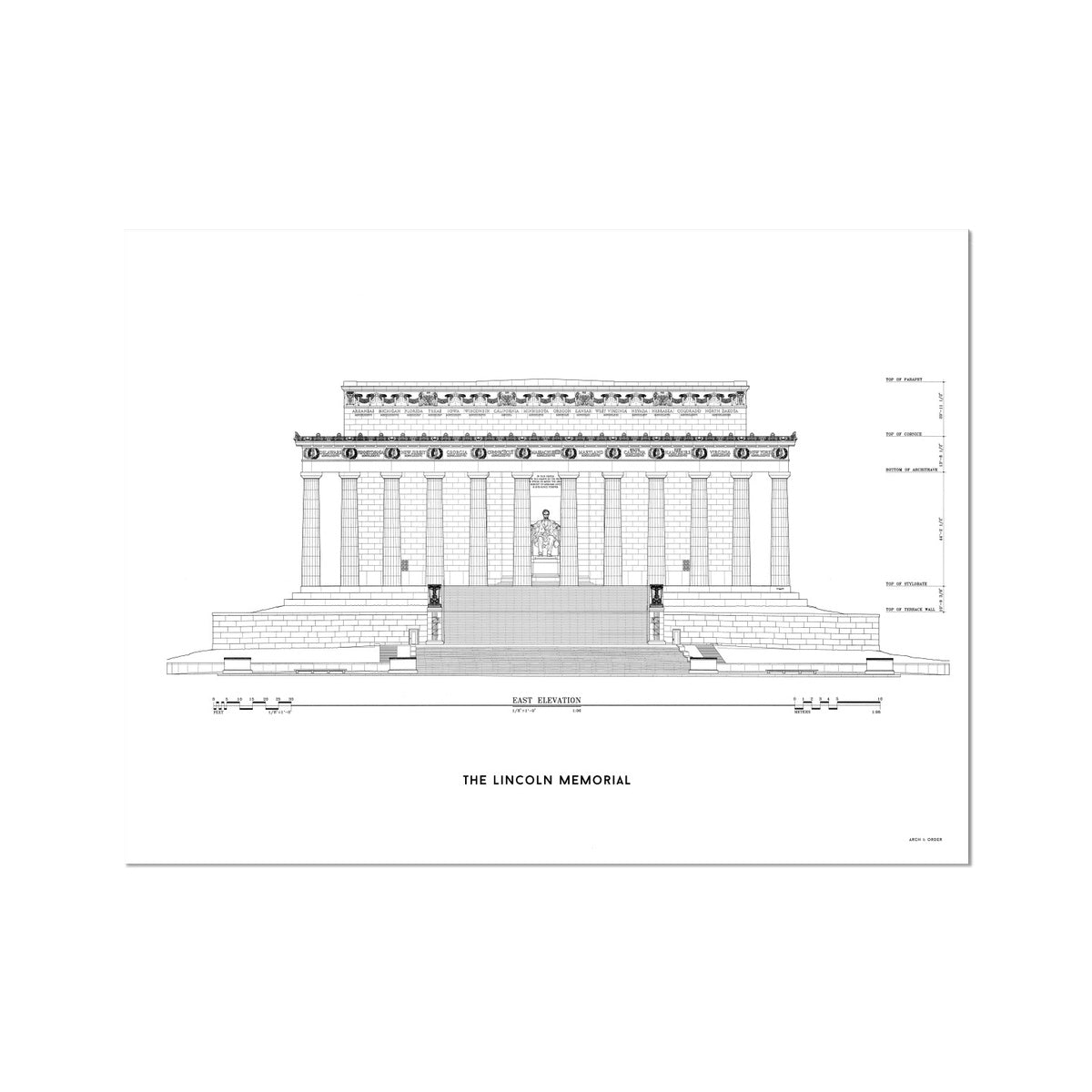 Lincoln Memorial East Elevation - White -  Etching Paper Print