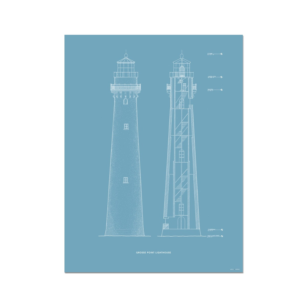 Grosse Point Lighthouse - East Elevation and Cross Section - Blue -  Etching Paper Print