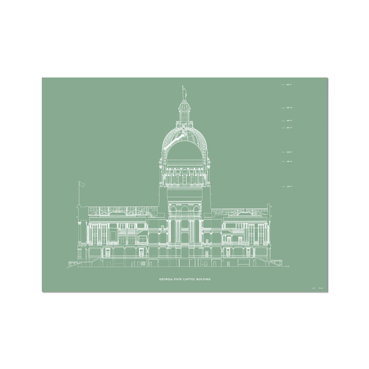 The Georgia State Capitol Building - North Elevation Cross Section - Green - German Etching Print