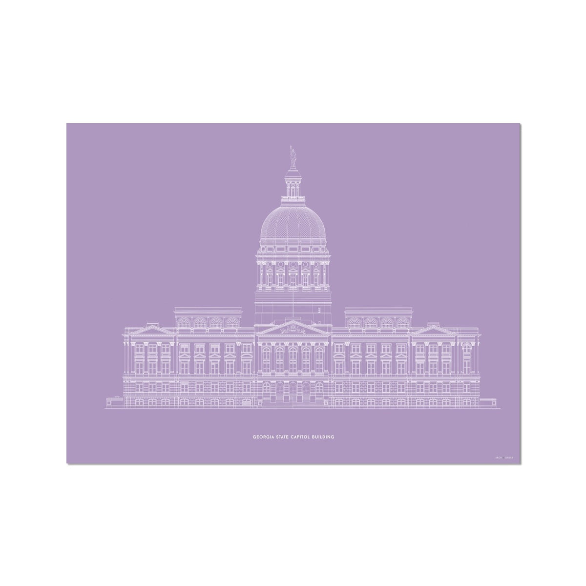 The Georgia State Capitol Building - West Elevation - Lavender -  Etching Paper Print
