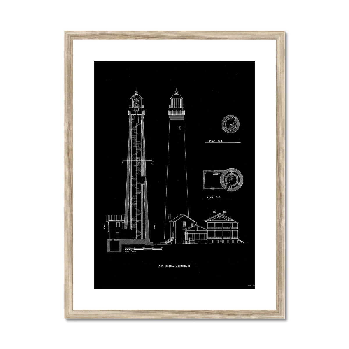 The Pensacola Lighthouse - West Elevation and Cross Section - Black -  Framed & Mounted Print