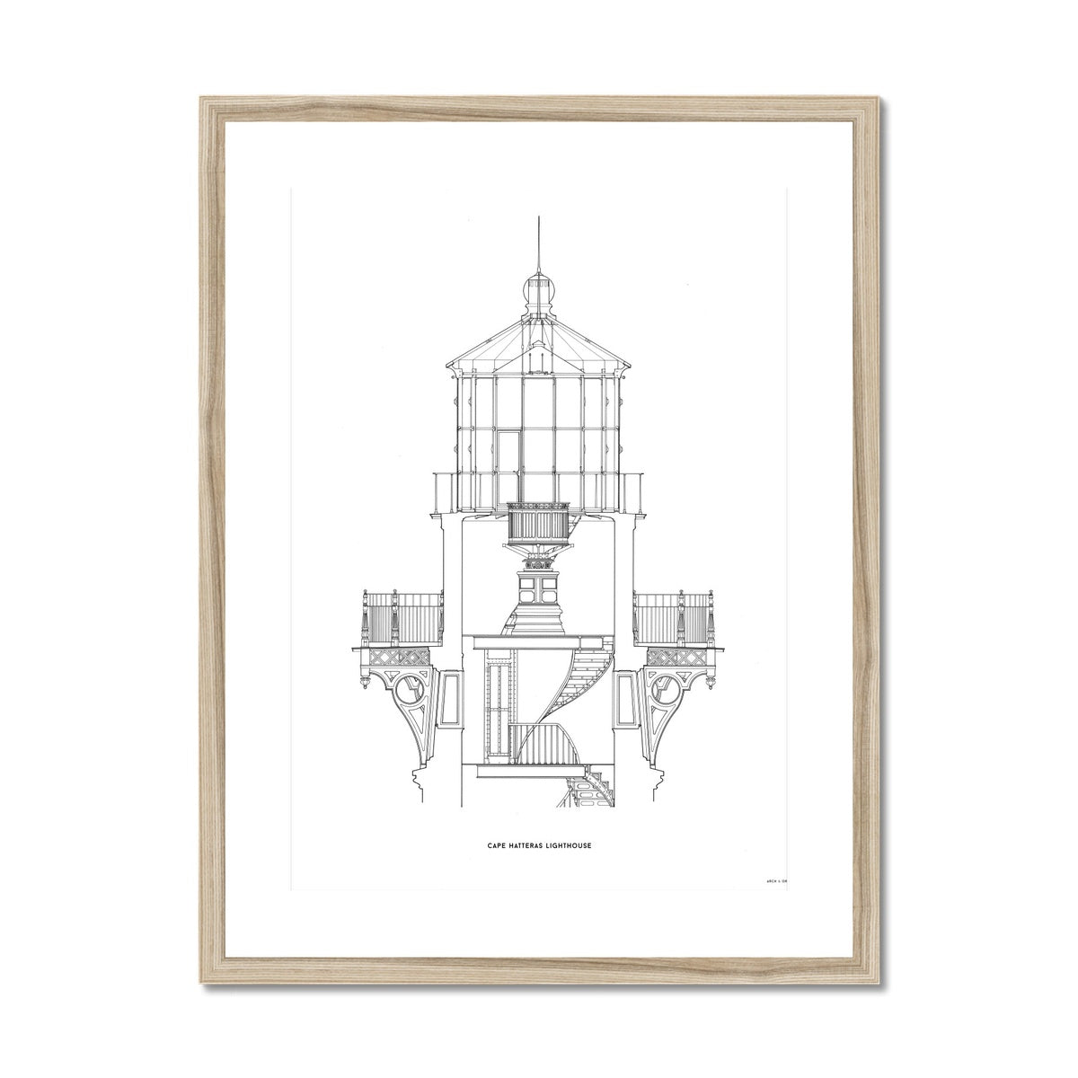 Cape Hatteras Lighthouse - Lantern Cross Section - White -  Framed & Mounted Print