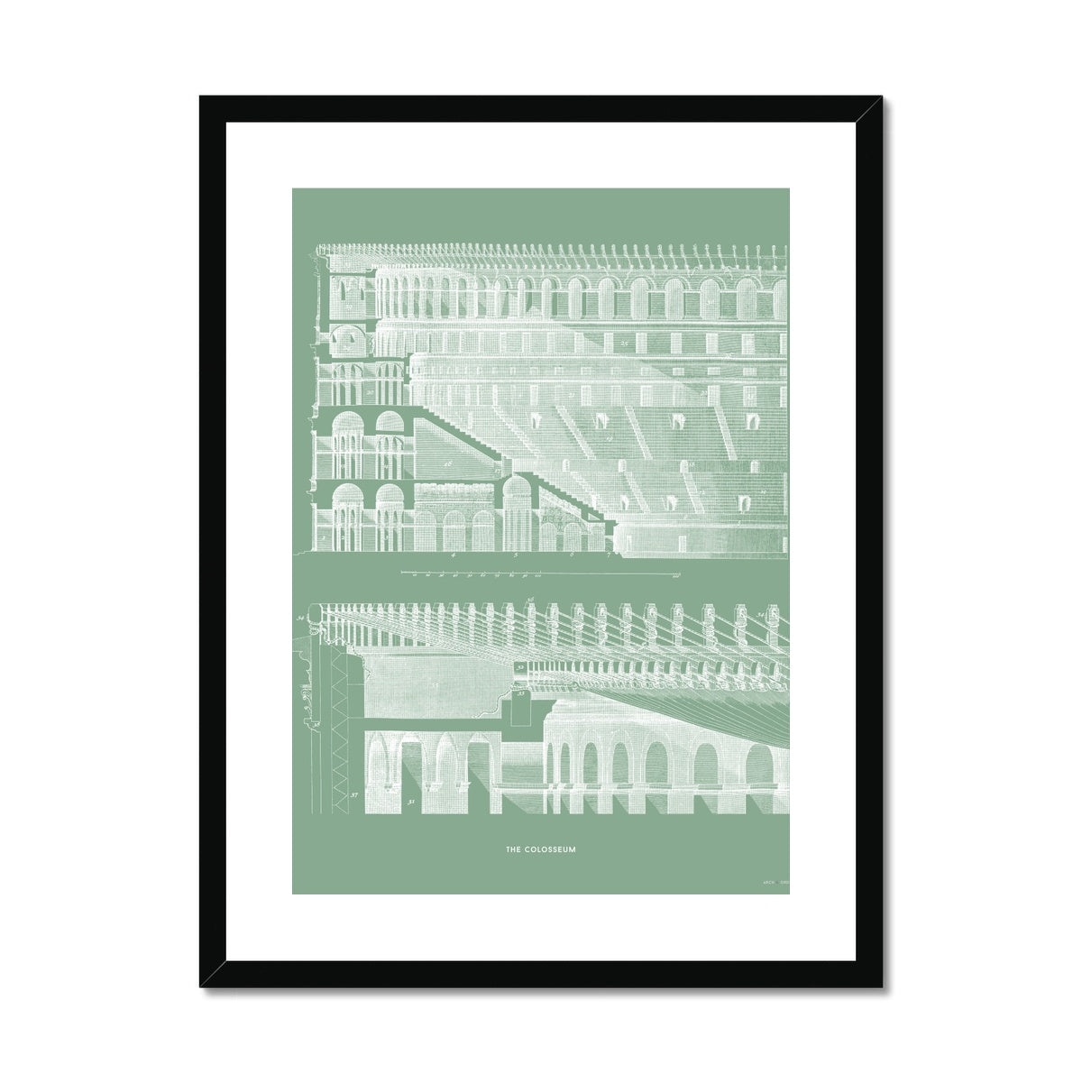 The Colosseum - Section Detail - Green -  Framed & Mounted Print
