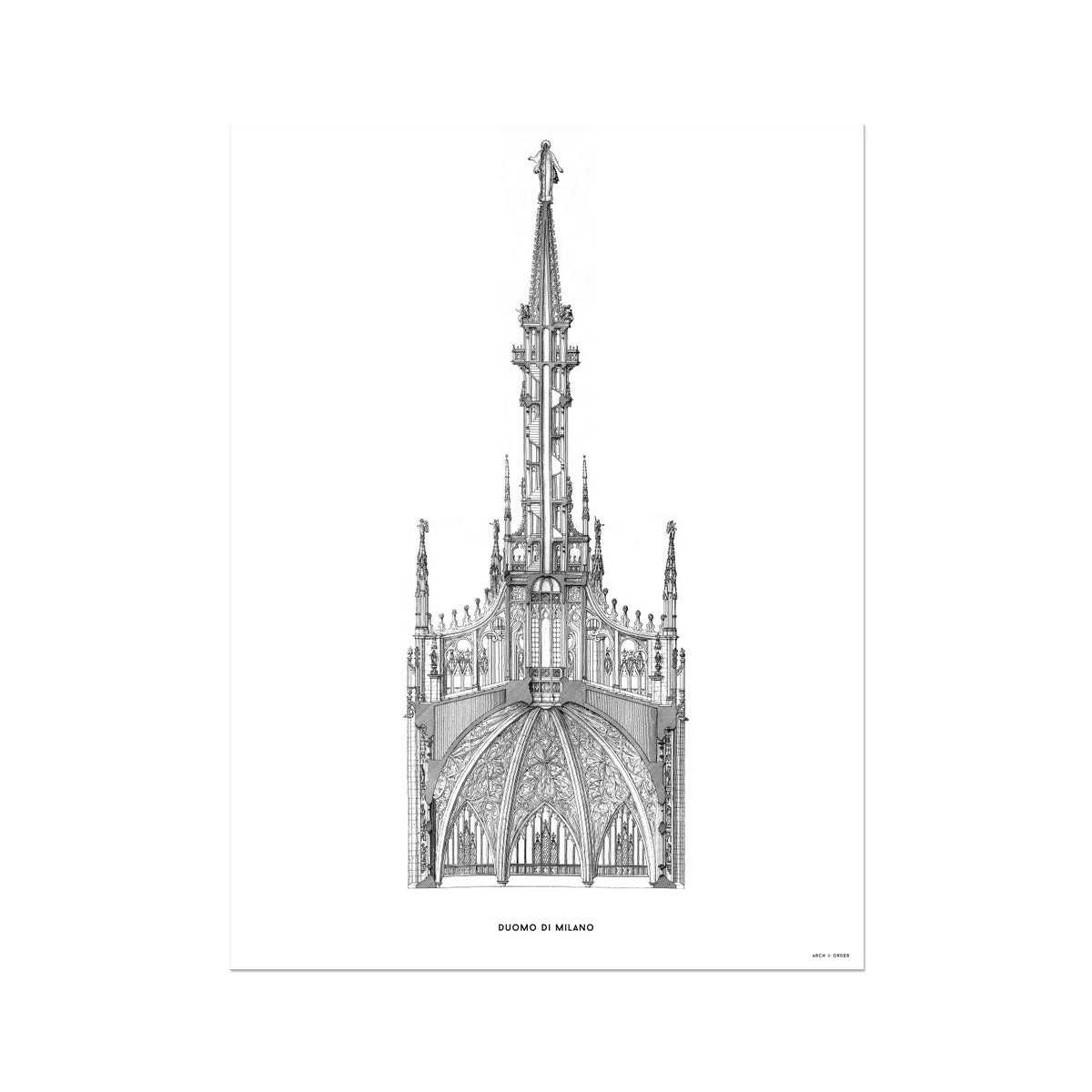 The Milan Cathedral - Detail Cross Section - White -  Etching Paper Print