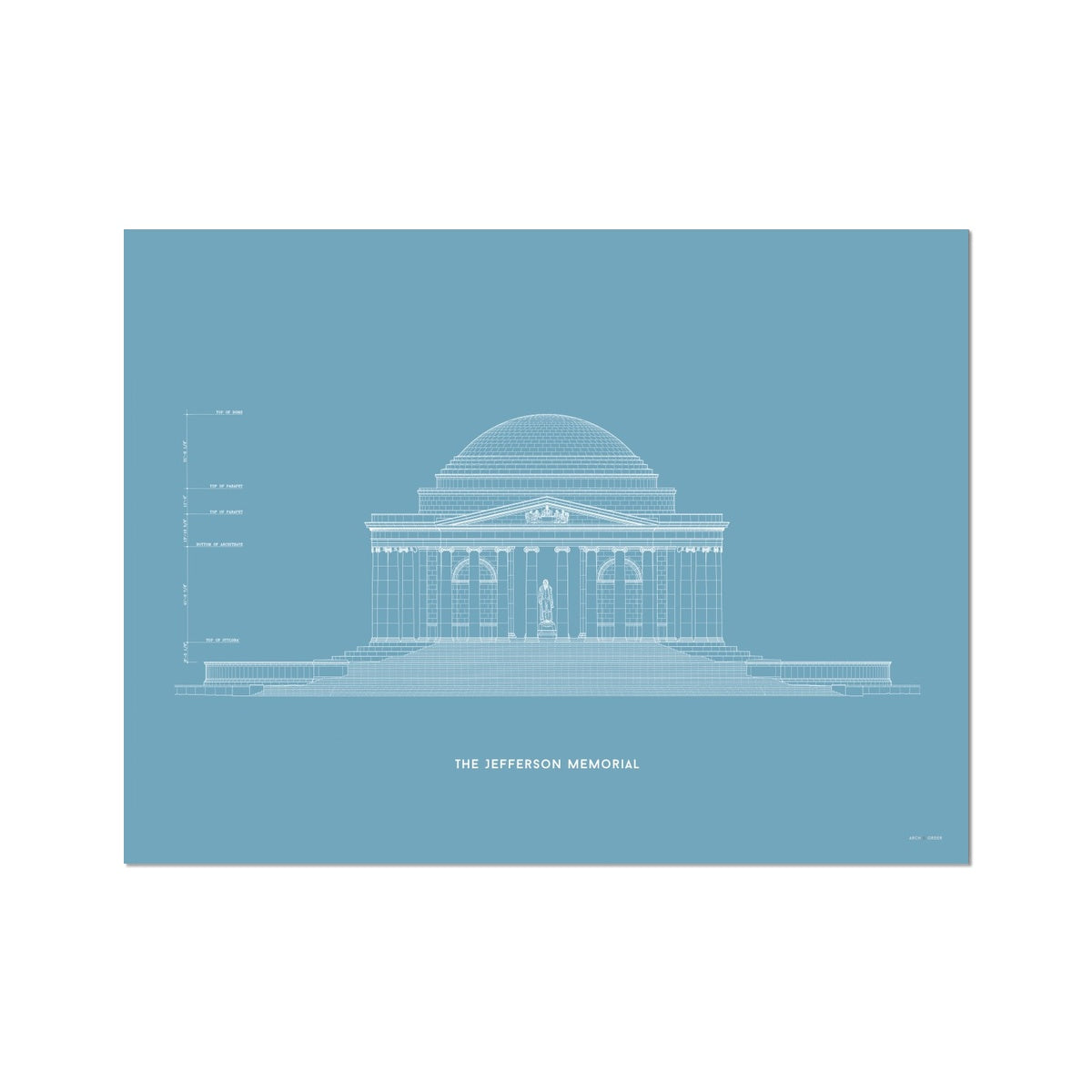 The Jefferson Memorial North Elevation - Blue -  Etching Paper Print