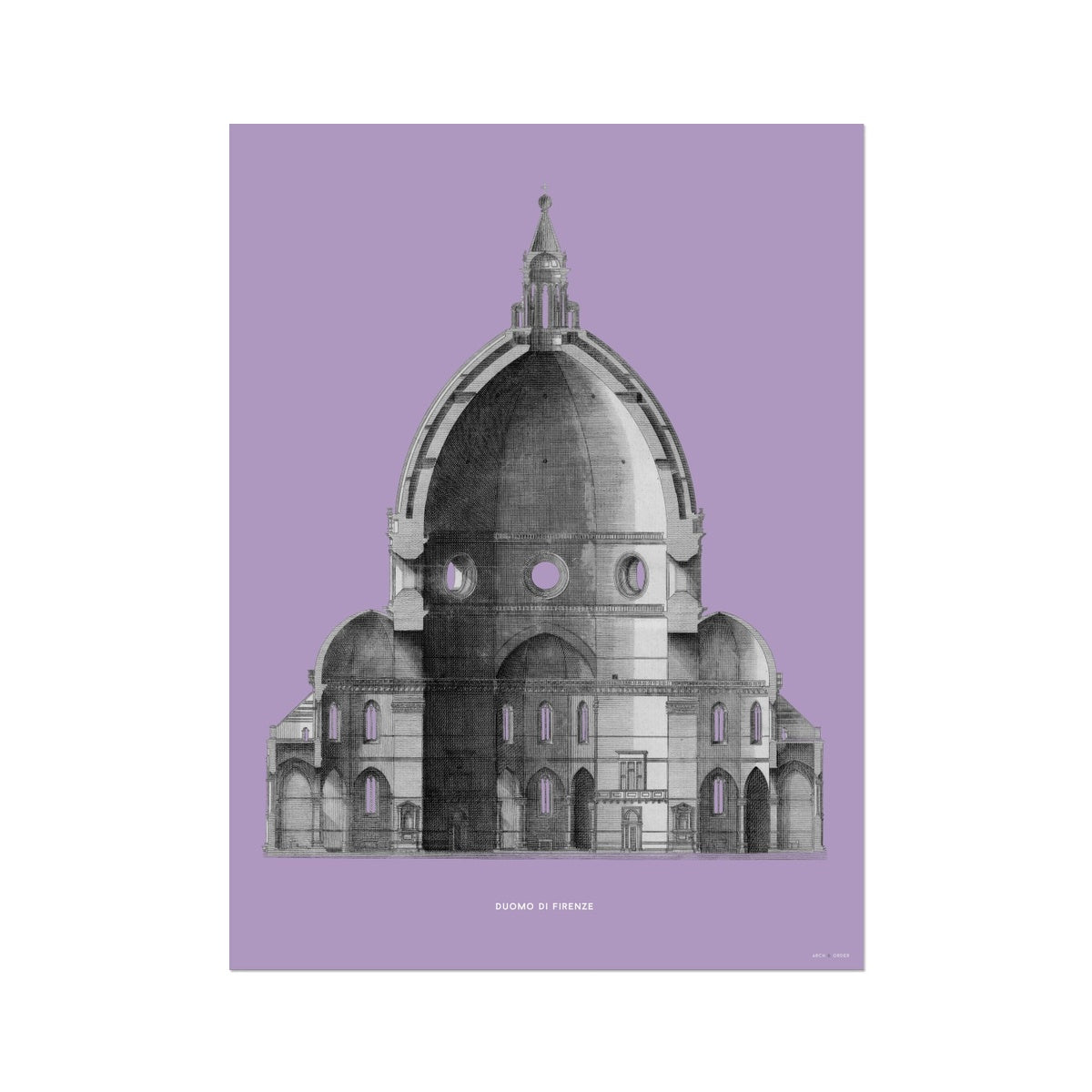 Duomo di Firenze - Primary Elevation Cross Section - Lavender -  Etching Paper Print