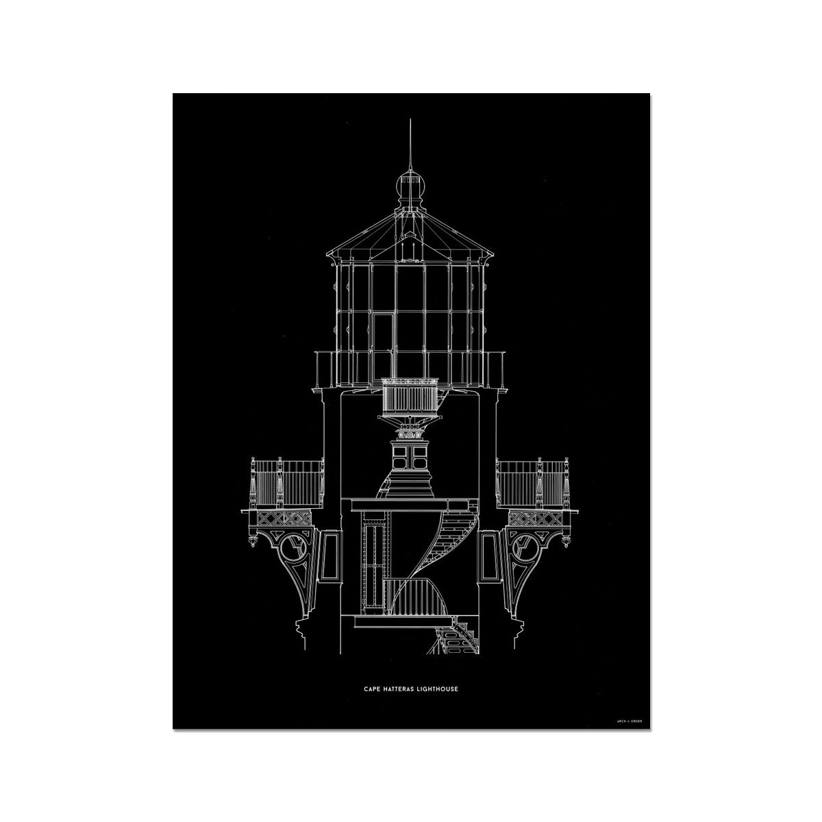 Cape Hatteras Lighthouse - Lantern Cross Section - Black -  Etching Paper Print