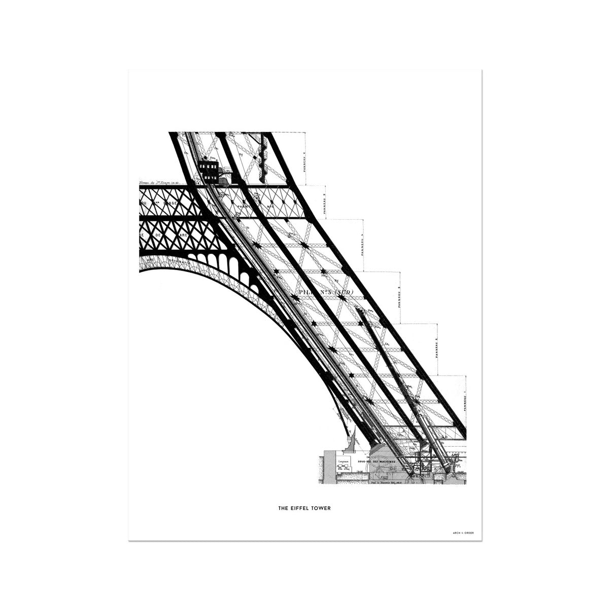 The Eiffel Tower - Base Elevator Section - White -  Etching Paper Print