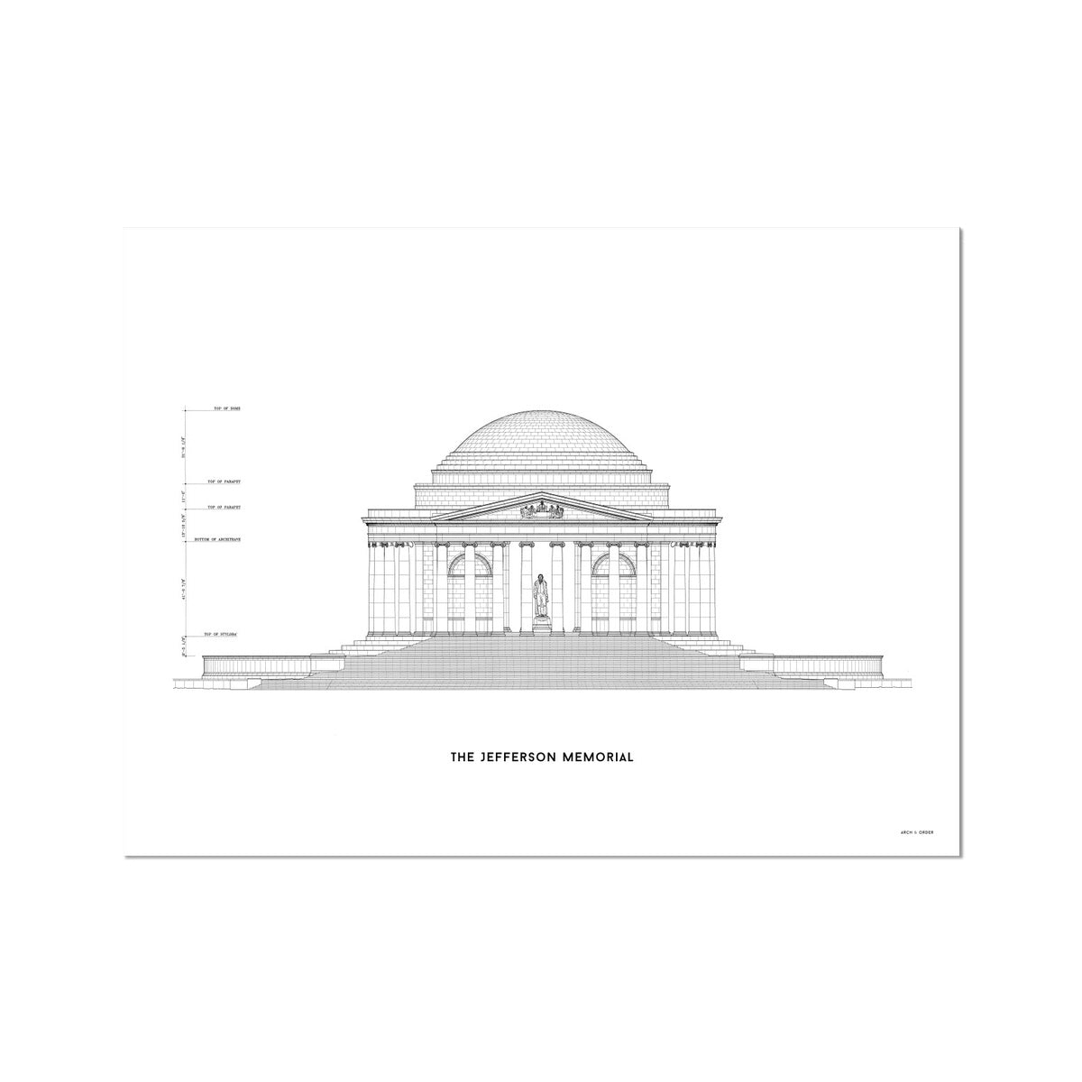 The Jefferson Memorial North Elevation - White -  Etching Paper Print