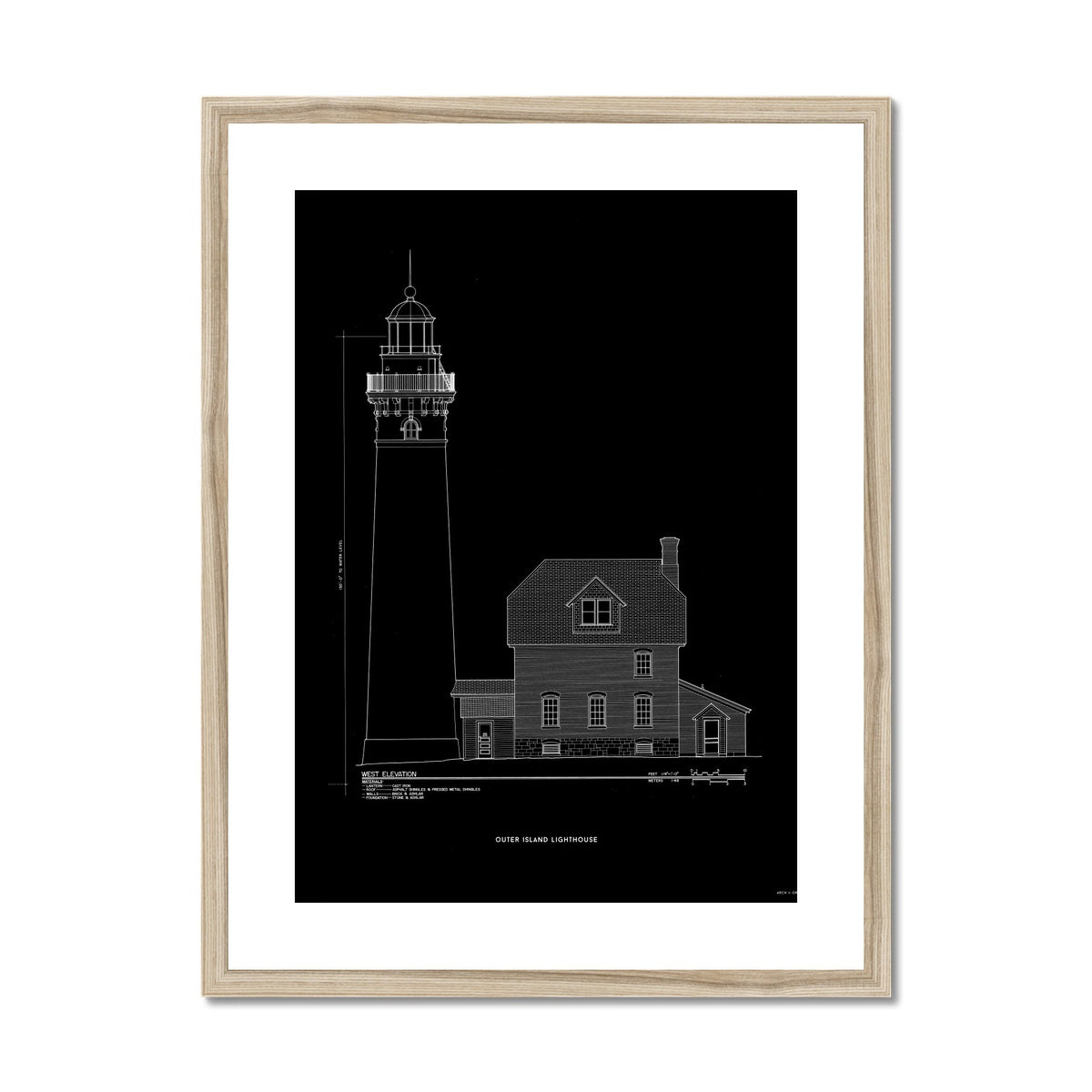 Outer Island Lighthouse - West Elevation - Black -  Framed & Mounted Print
