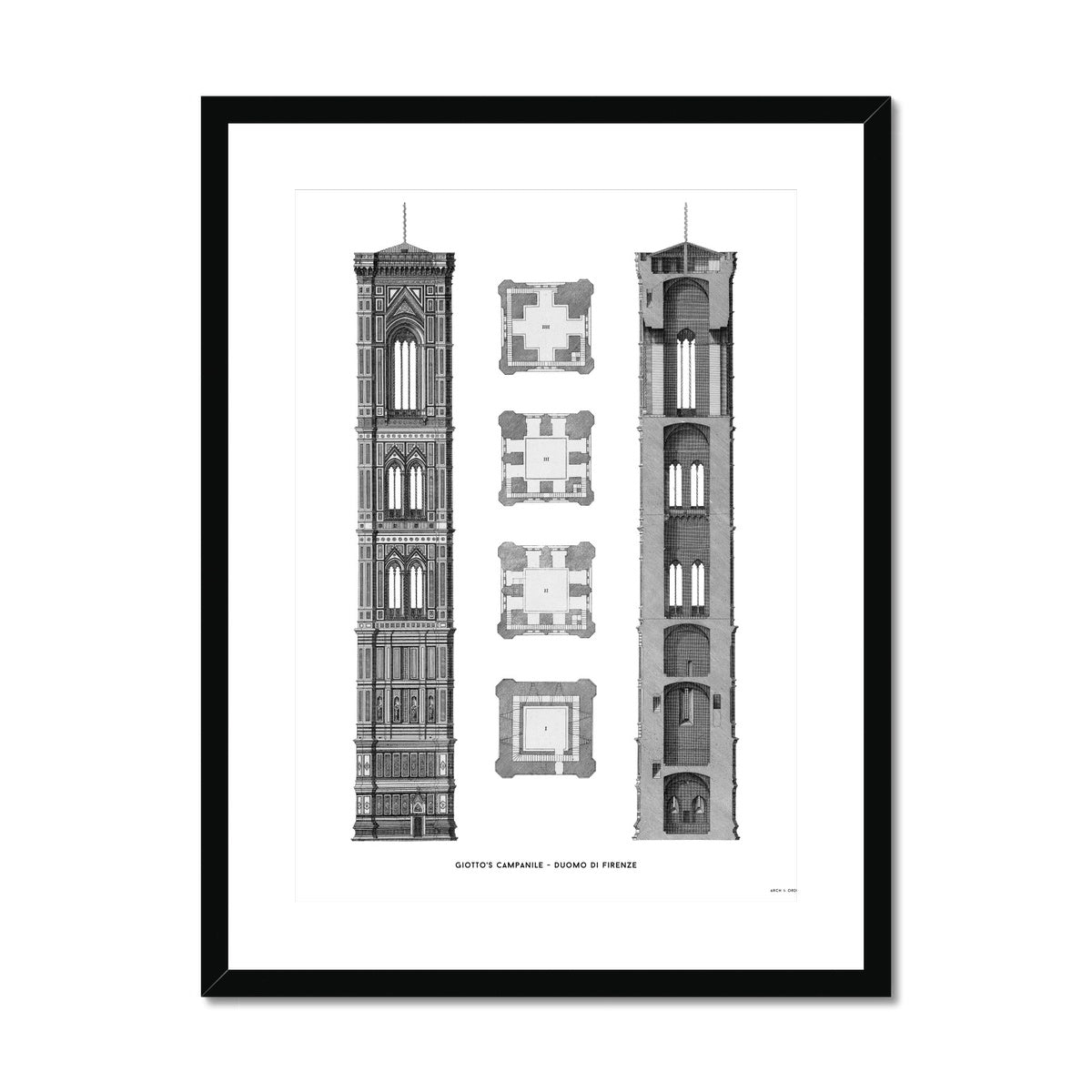 Giotto's Campanile - Cross Section - White -  Framed & Mounted Print