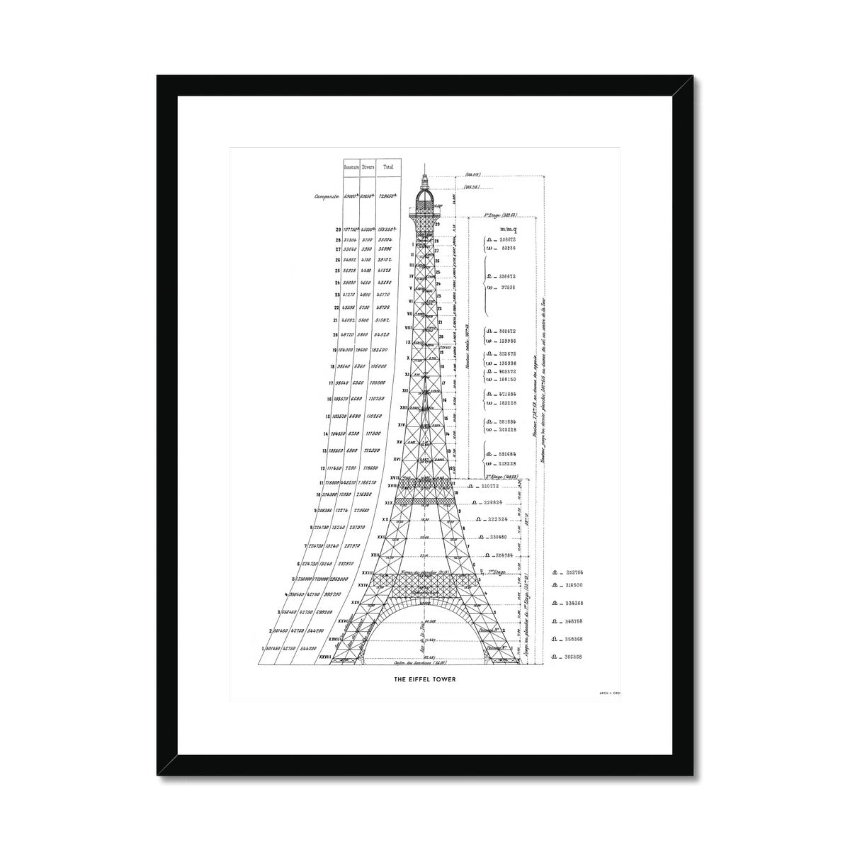The Eiffel Tower - Structural Calculations - White -  Framed & Mounted Print