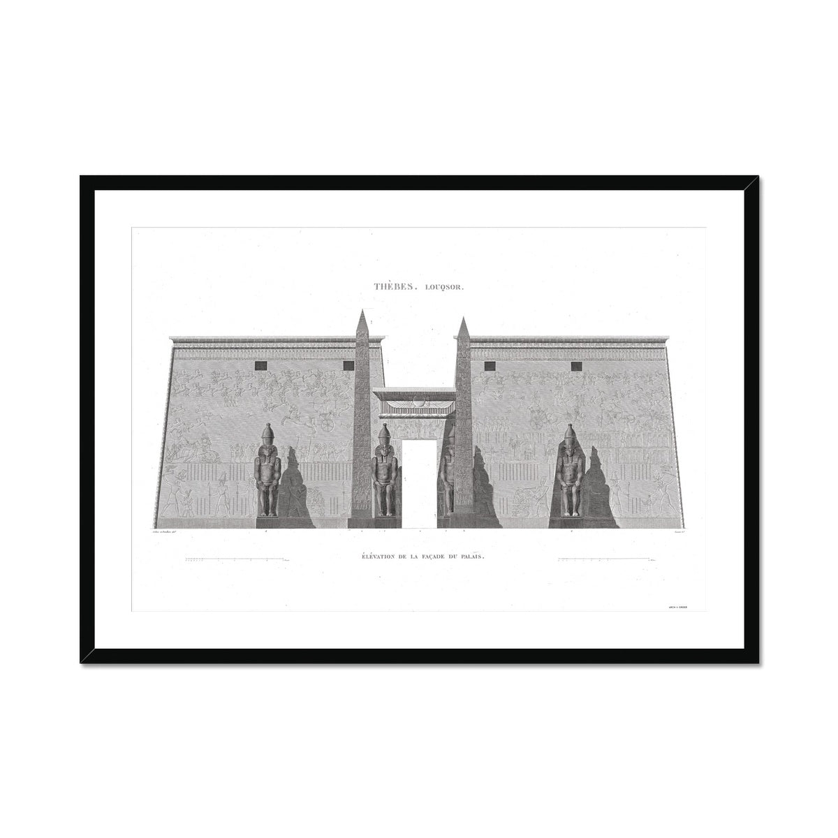 Primary Elevation of the Palace - Luxor - Thebes Egypt -  Framed & Mounted Print