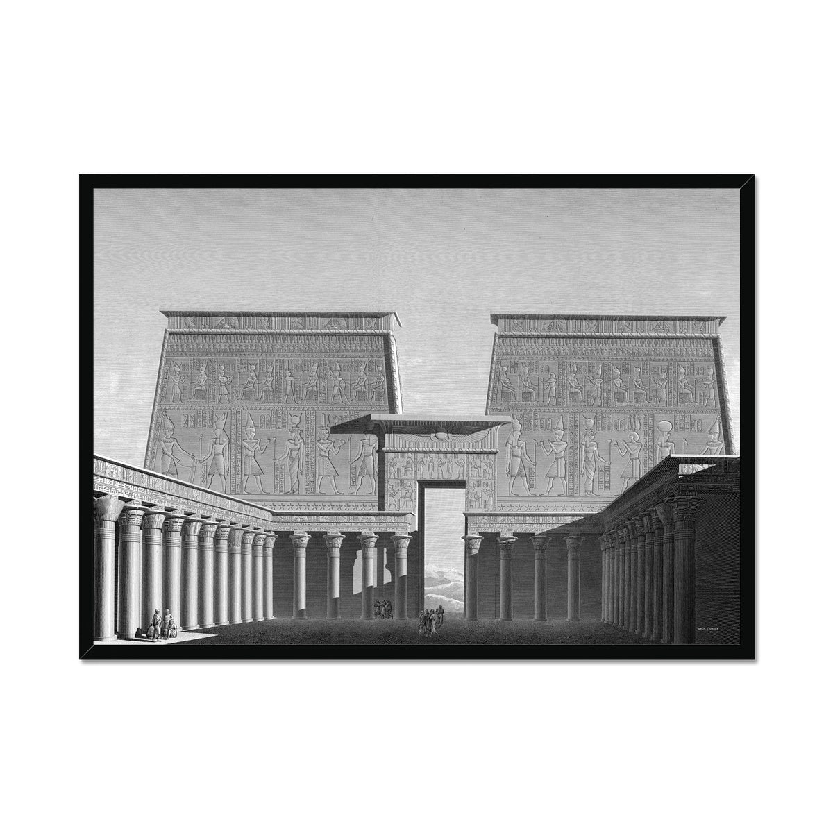 Temple of Horus Courtyard - Edfu Egypt -  Framed Print