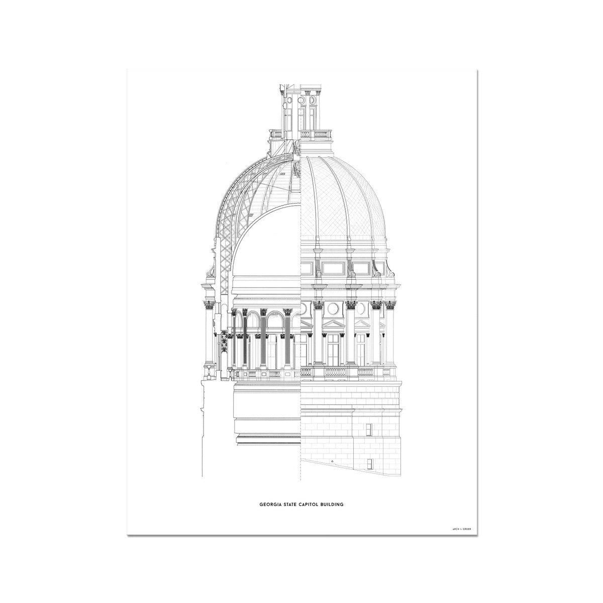 The Georgia State Capitol Building - Dome Cross Section - White -  Etching Paper Print