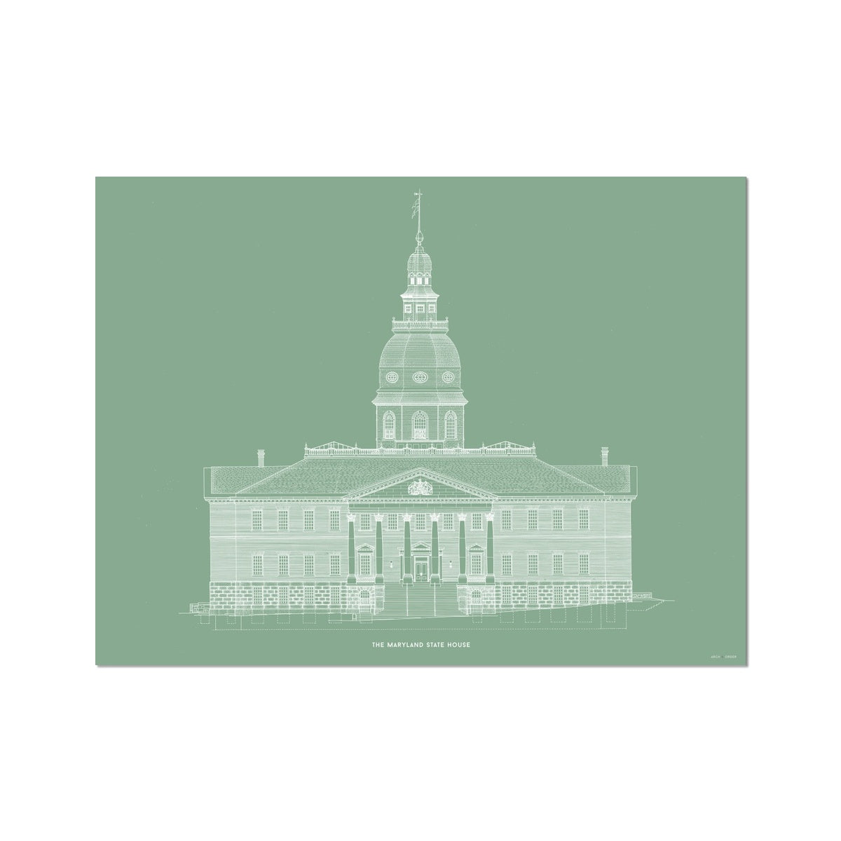 The Maryland State House - Northwest Elevation - Green -  Etching Paper Print