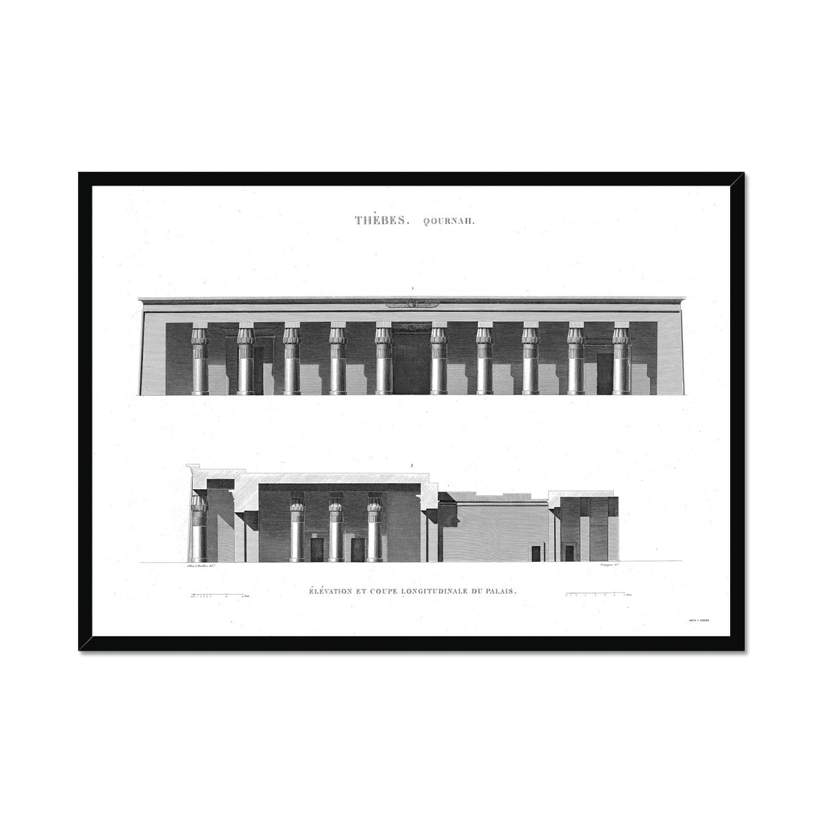 Palace Primary Elevation - Qournah - Thebes Egypt -  Framed Print