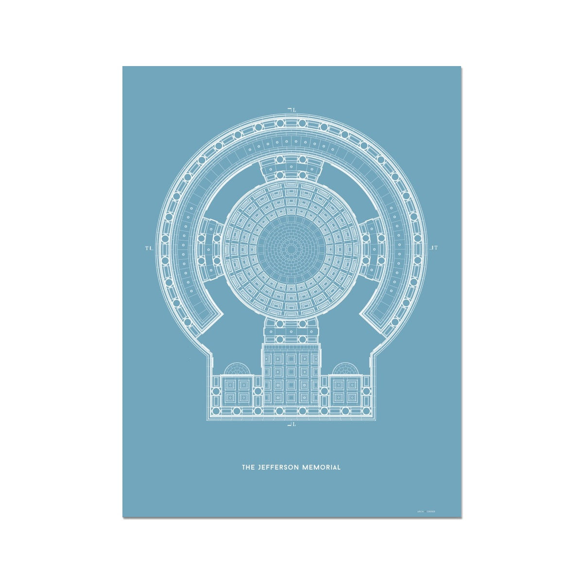 The Jefferson Memorial Reverse Ceiling Detail - Blue -  Etching Paper Print