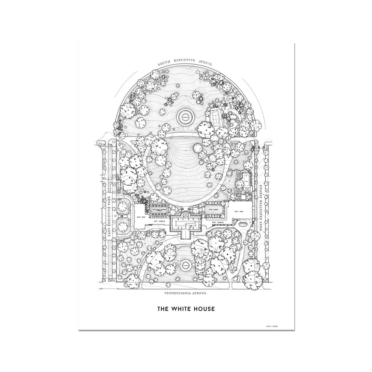 The White House Site Plan - White -  Etching Paper Print