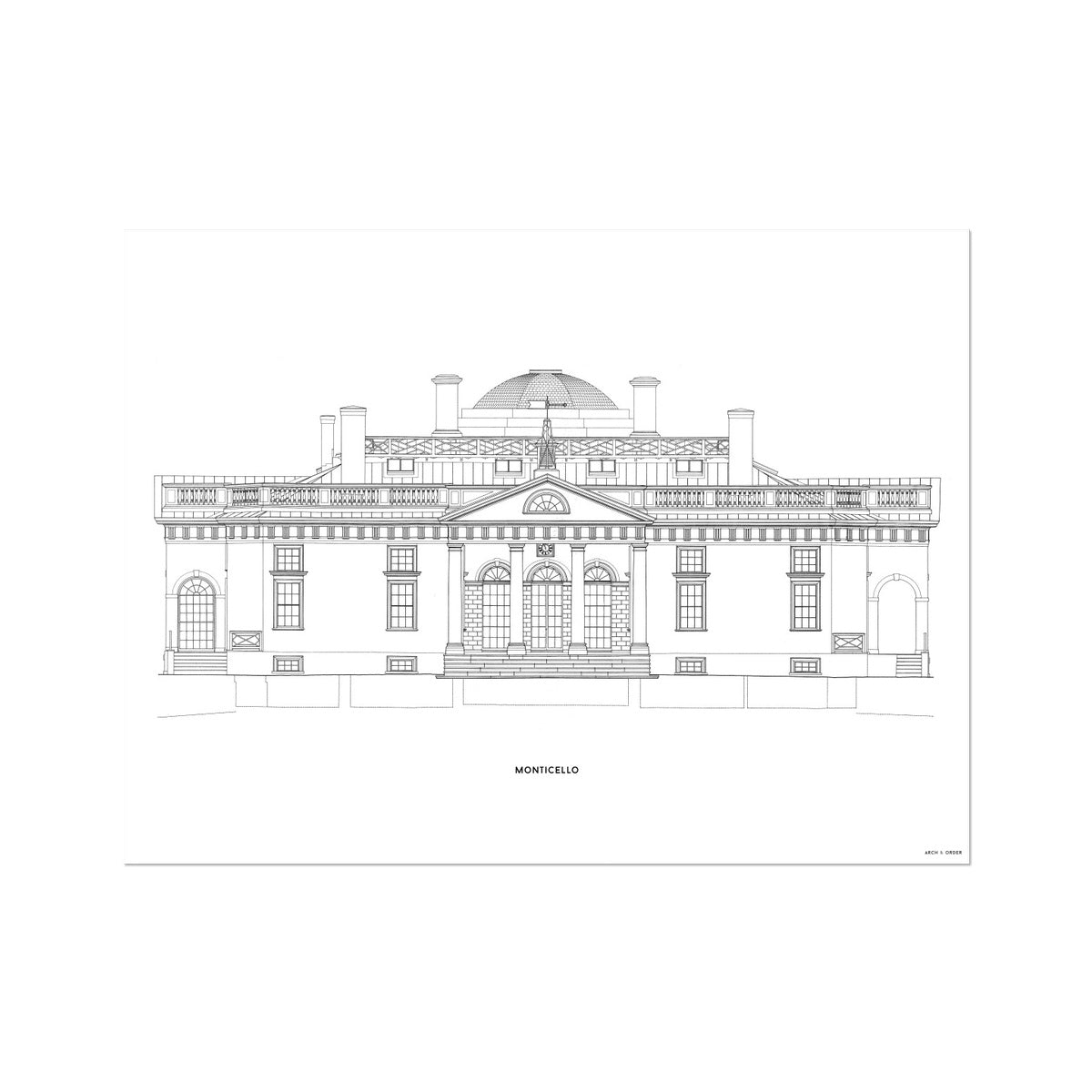 Monticello - East Elevation - White -  Etching Paper Print