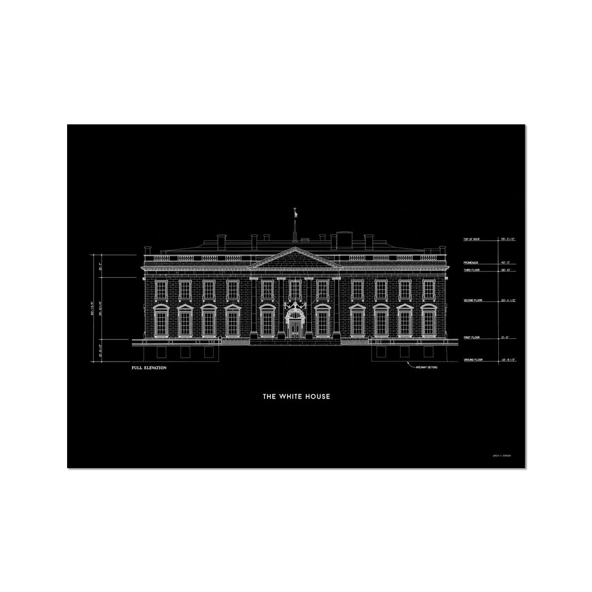 The White House North Elevation - Black -  Etching Paper Print