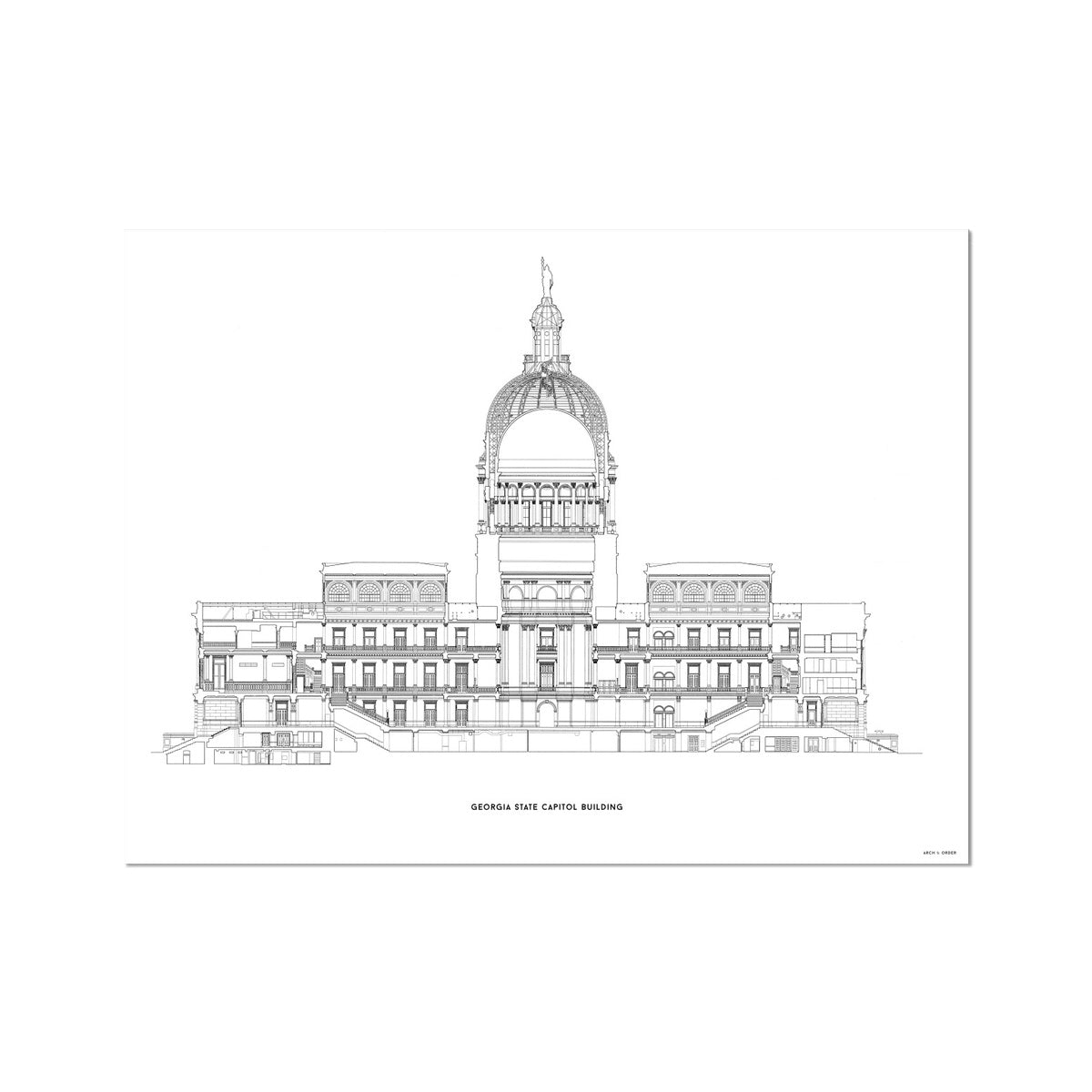 The Georgia State Capitol Building - West Elevation Cross Section - White -  German Etching Print
